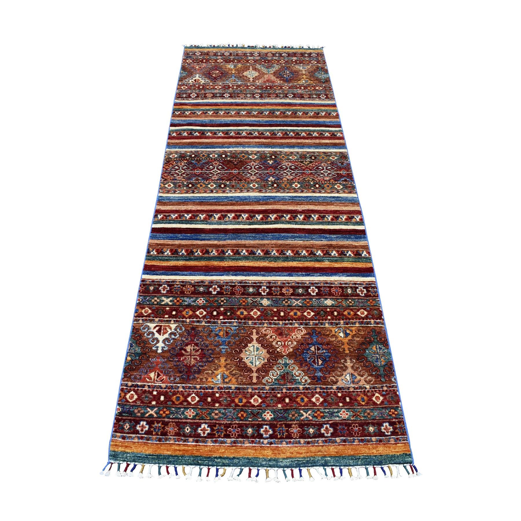 "2'10""X8' Red Khorjin Design Runner Super Kazak Geometric Hand Knotted 100% Wool Oriental Rug moaeb9b9"