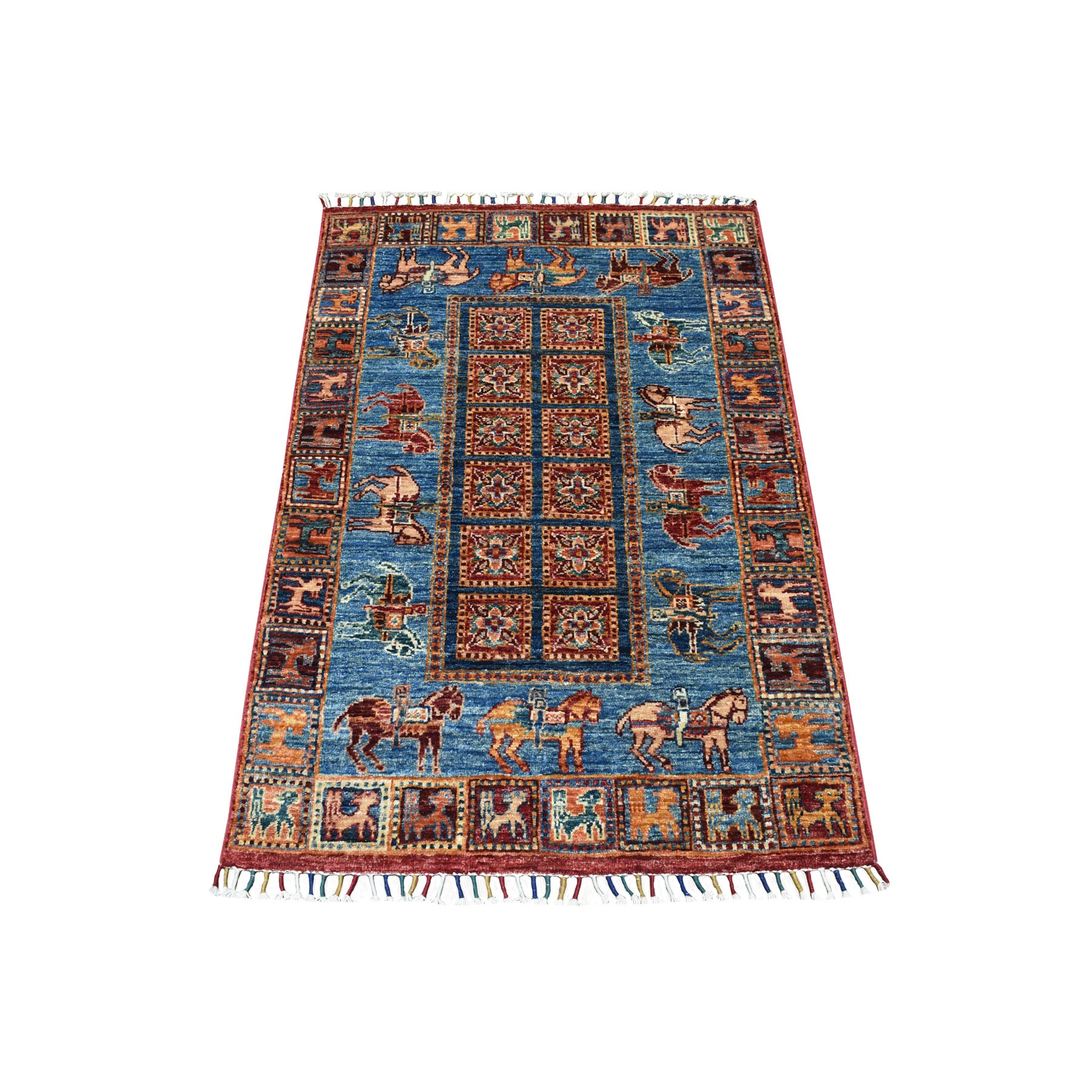 "2'10""X4'1"" Blue Horse Design Super Kazak Tribal Pure Wool Hand Knotted Oriental Rug moaeb9cc"