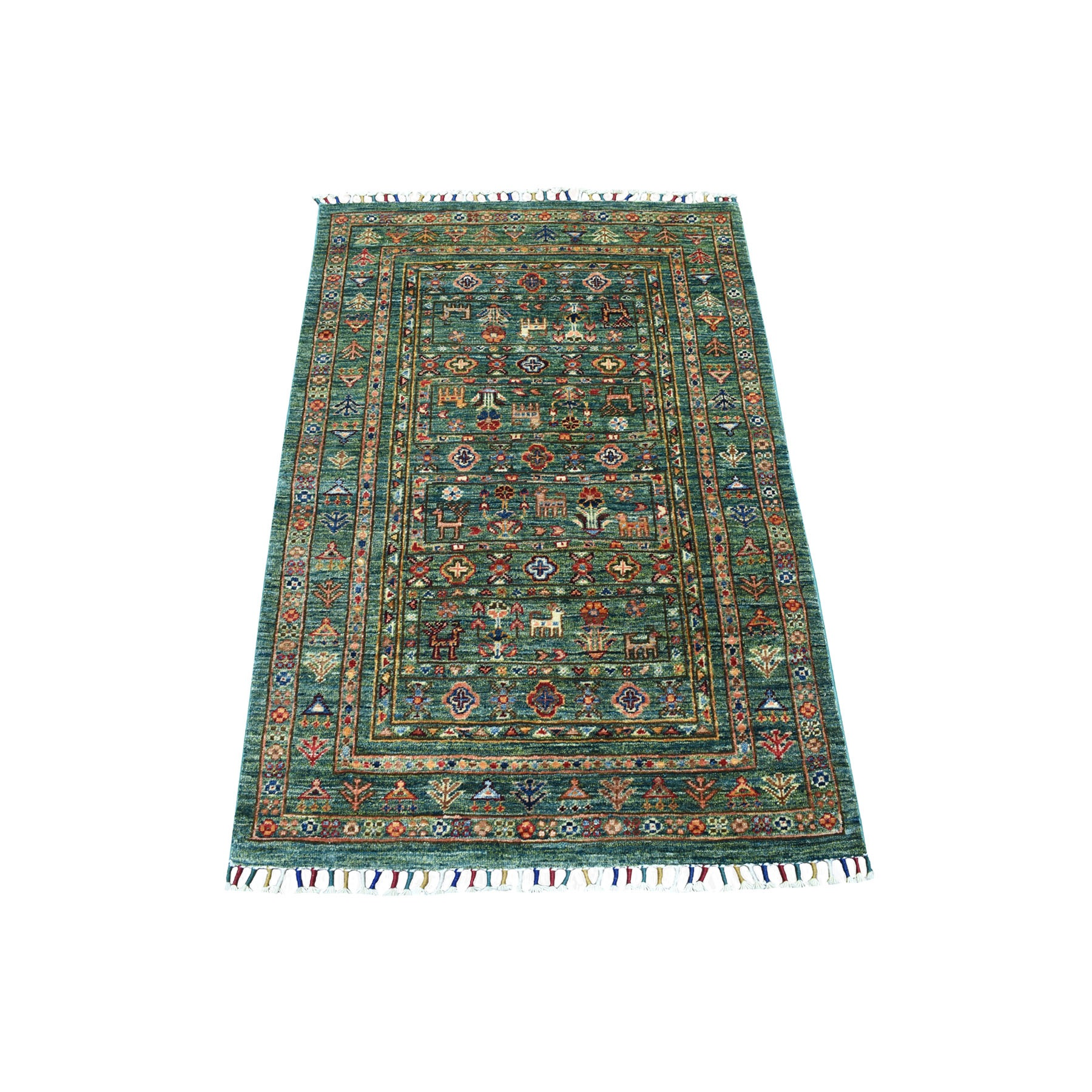 "2'9""X4'2"" Green Kashkuli Design Super Kazak Pictorial Hand Knotted Pure Wool Oriental Rug moaeb9cd"