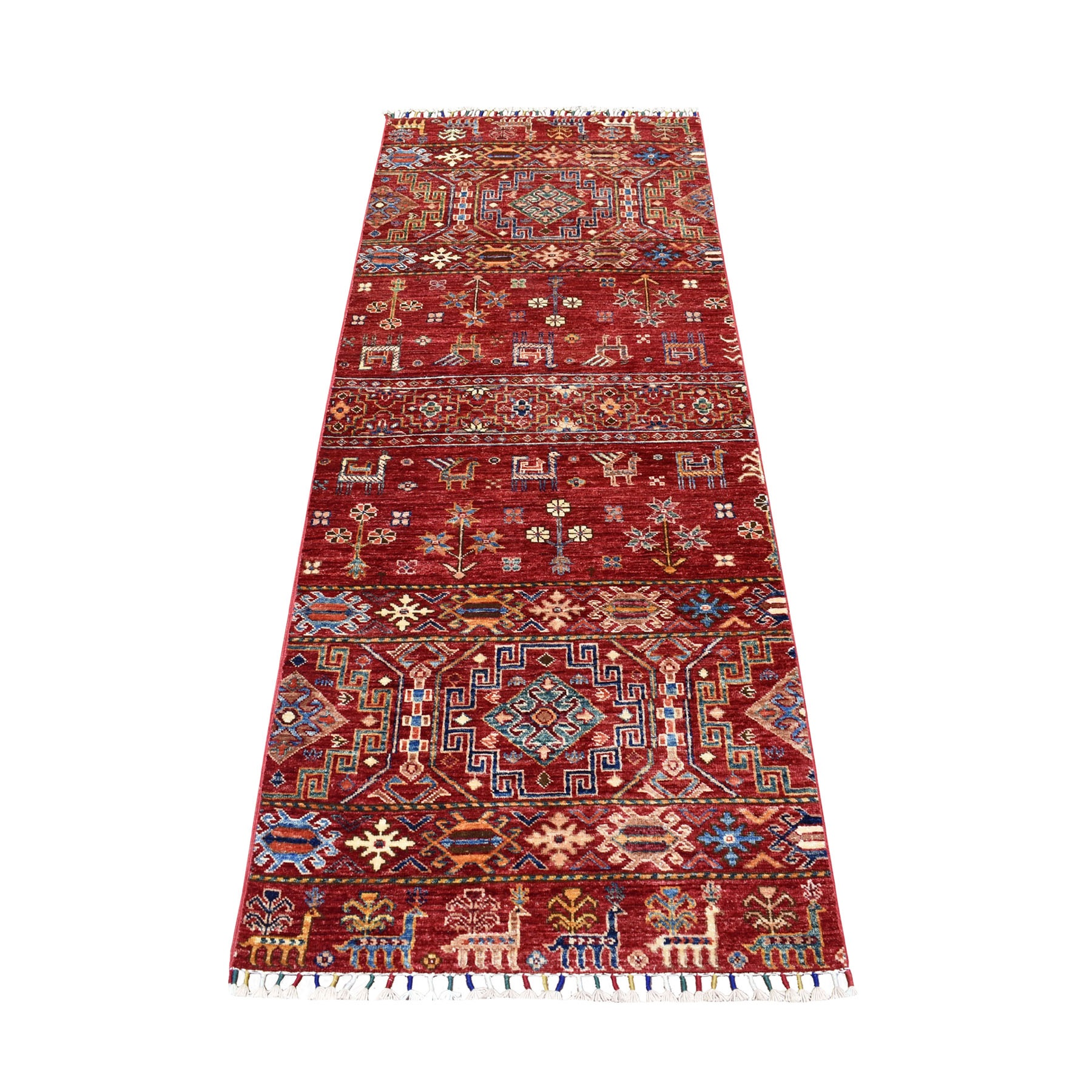 "2'7""X6'9"" Red Khorjin Design Runner Super Kazak Geometric Pure Wool Hand Knotted Oriental Rug moaeb9ce"