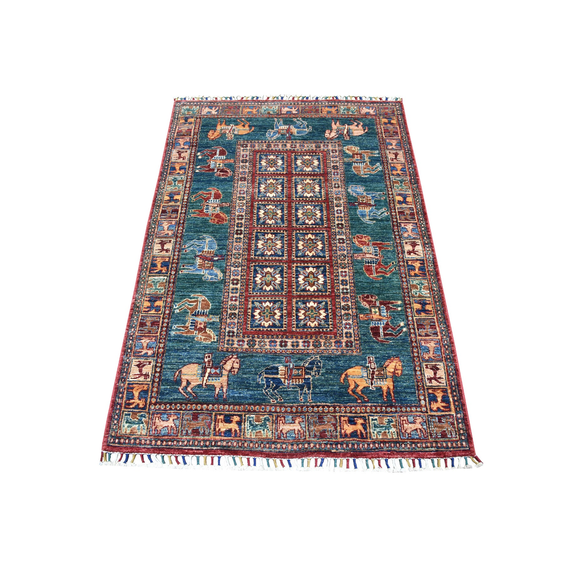 "3'2""X5' Teal Horse Design Super Kazak Tribal Pure Wool Hand Knotted Oriental Rug moaeb9c7"
