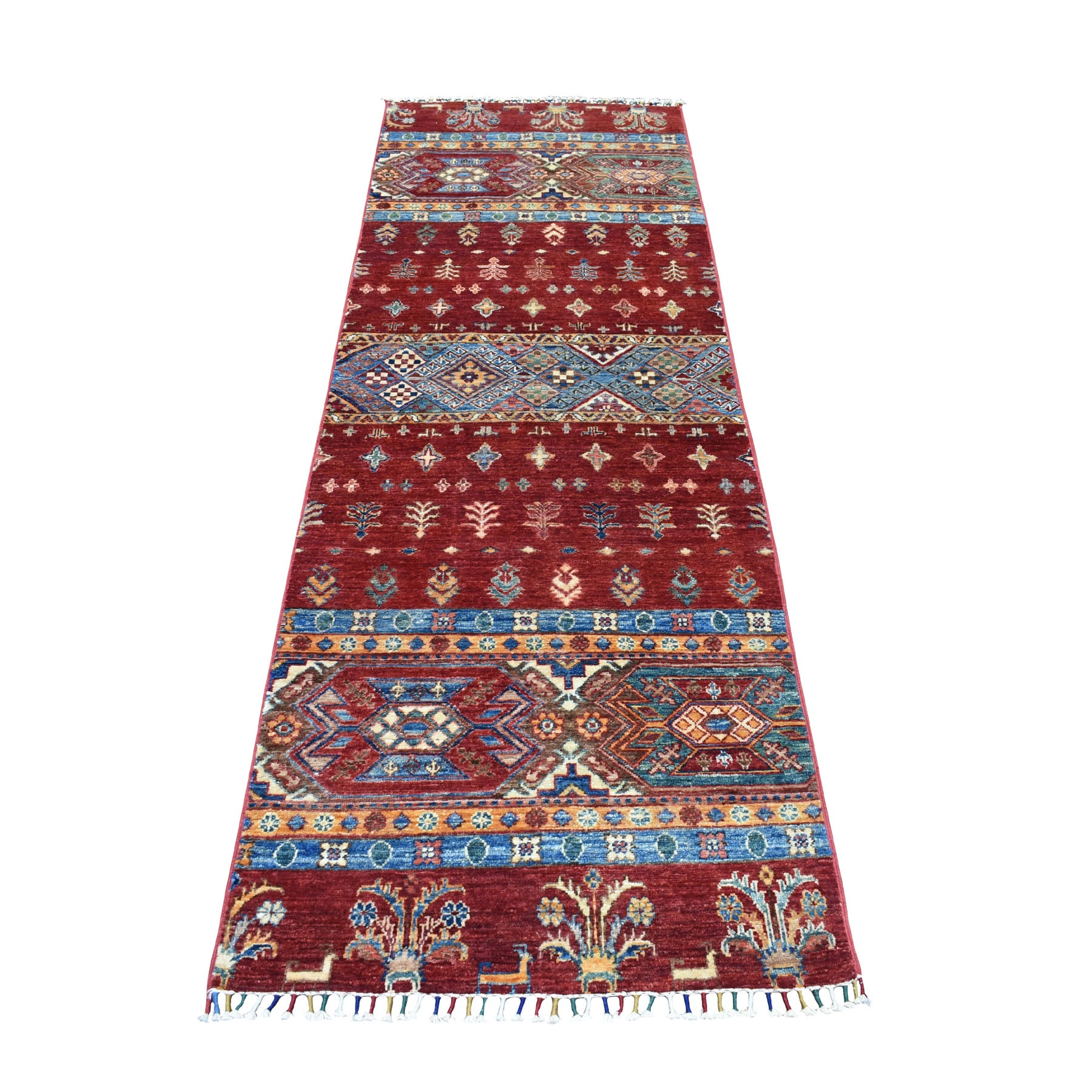 "2'8""X7'9"" Red Khorjin Design Runner Super Kazak Tribal Pure Wool Hand Knotted Oriental Rug moaeb9db"
