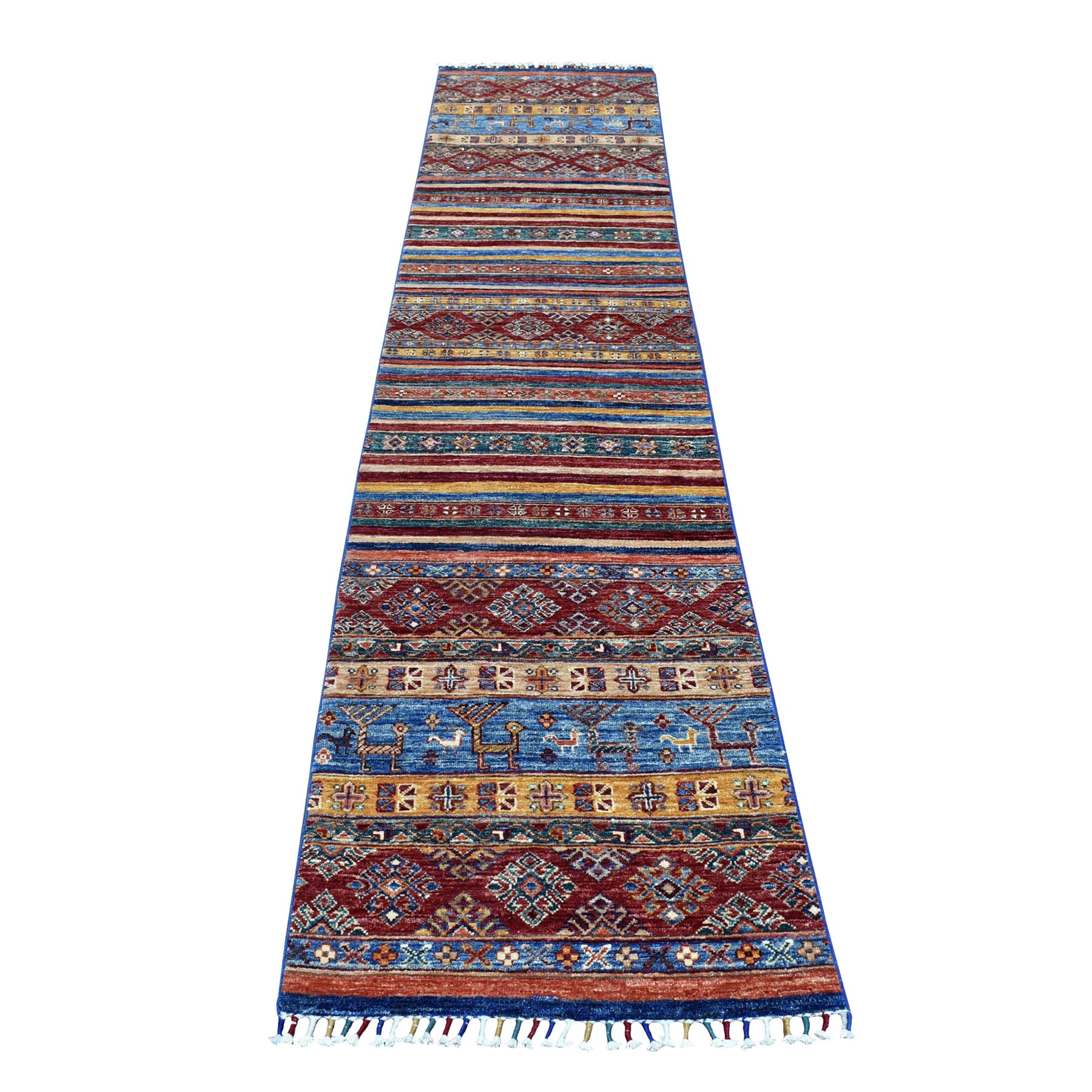 "2'1""X10'2"" Blue Khorjin Design Runner Super Kazak Geometric Pure Wool Hand Knotted Oriental Rug moaeb9dc"