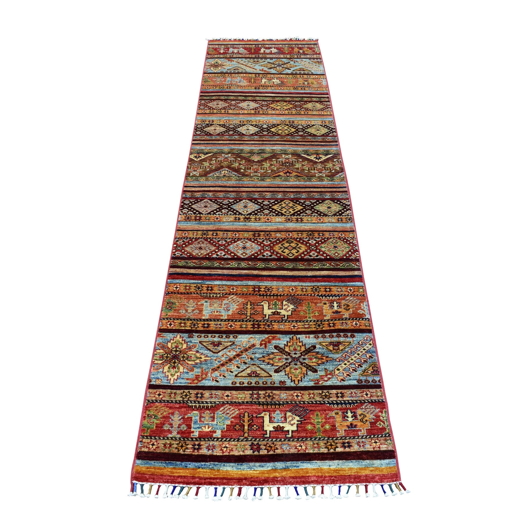 "2'3""X9'9"" Brown Khorjin Design Runner Super Kazak Tribal Pure Wool Hand Knotted Oriental Rug moaeb9dd"