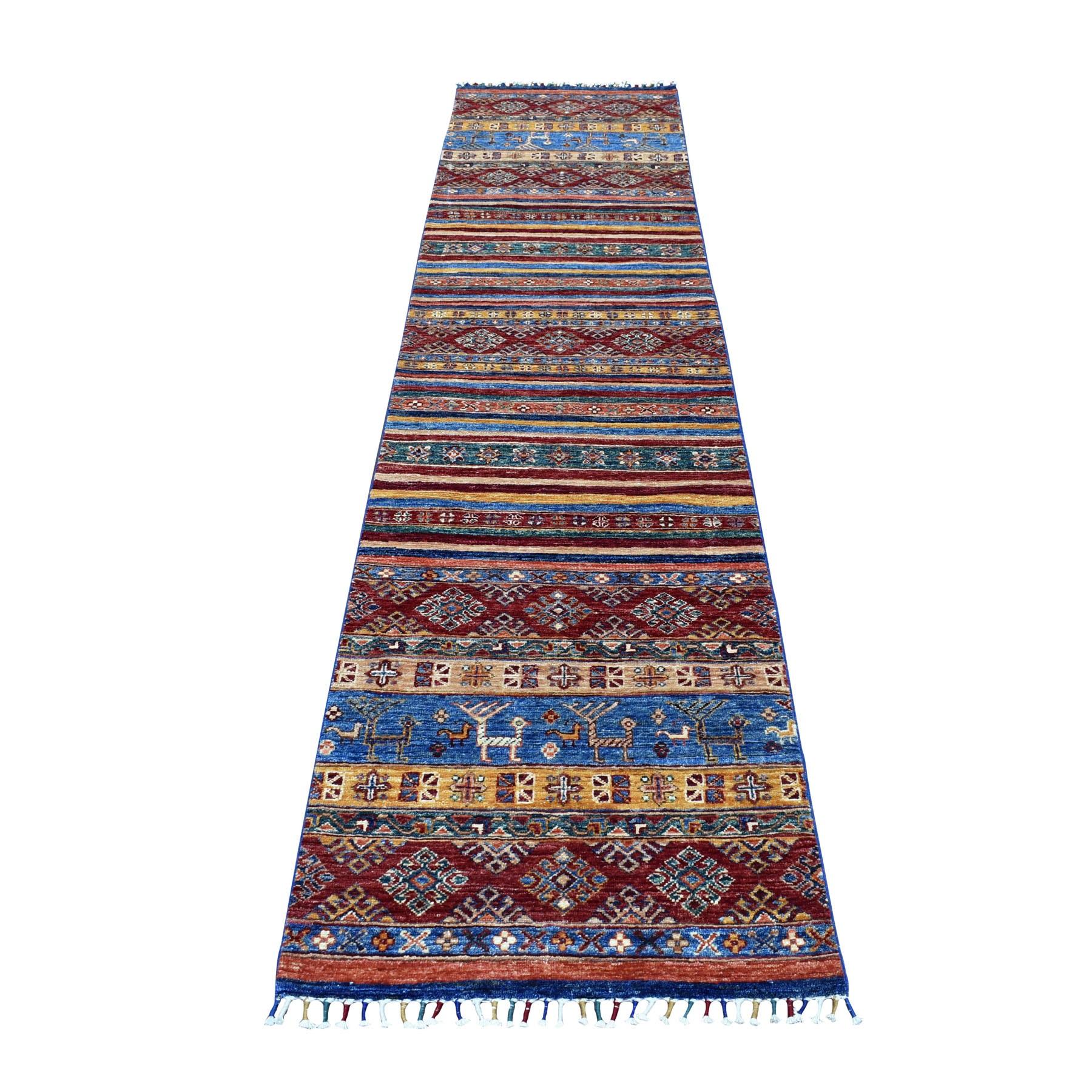 """2'4""""X10'1"""" Blue Khorjin Design Runner Super Kazak Geometric Pure Wool Hand Knotted Oriental Rug moaeb9de"""