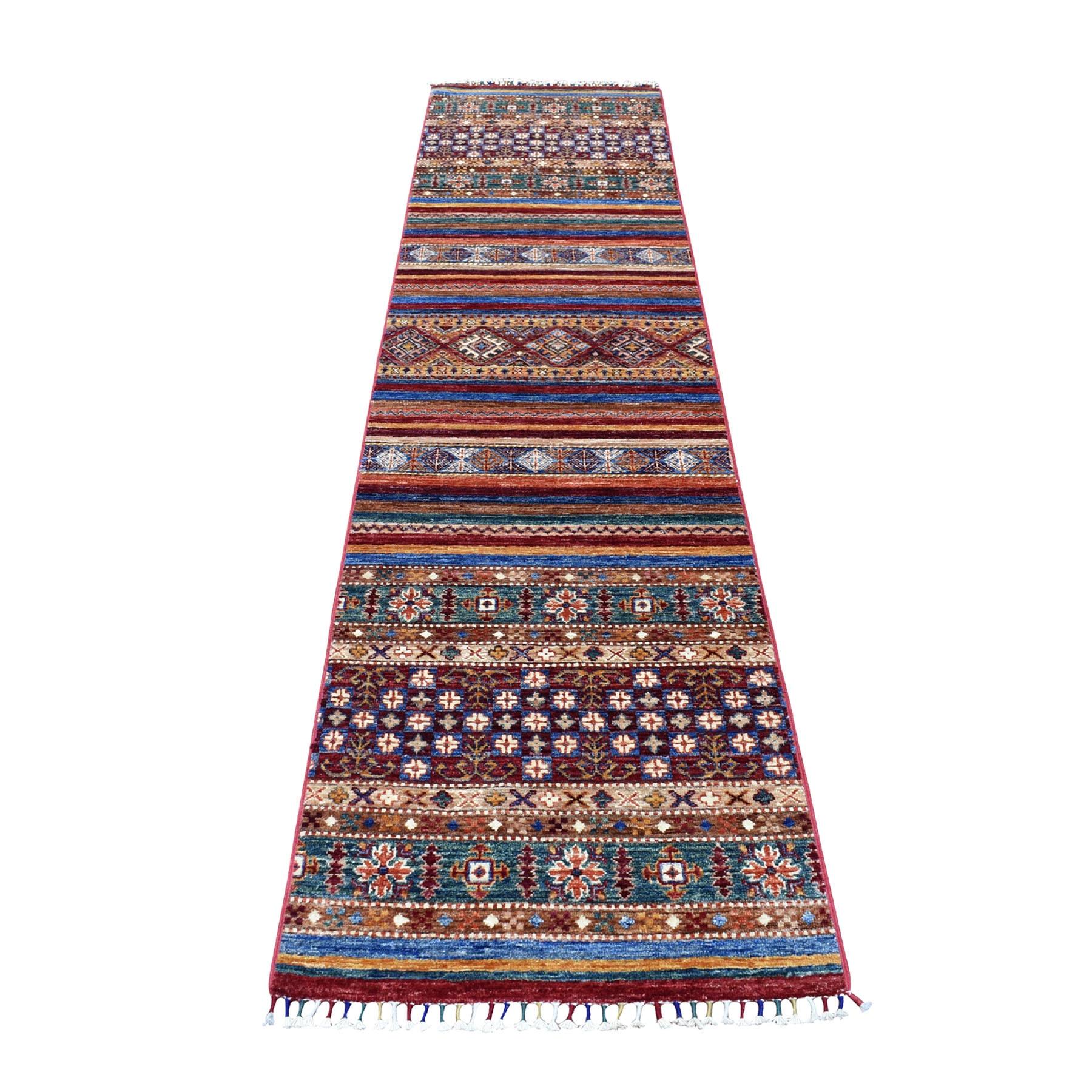 "2'4""X9'9"" Red Khorjin Design Runner Super Kazak Tribal Pure Wool Hand Knotted Oriental Rug moaeb9d6"
