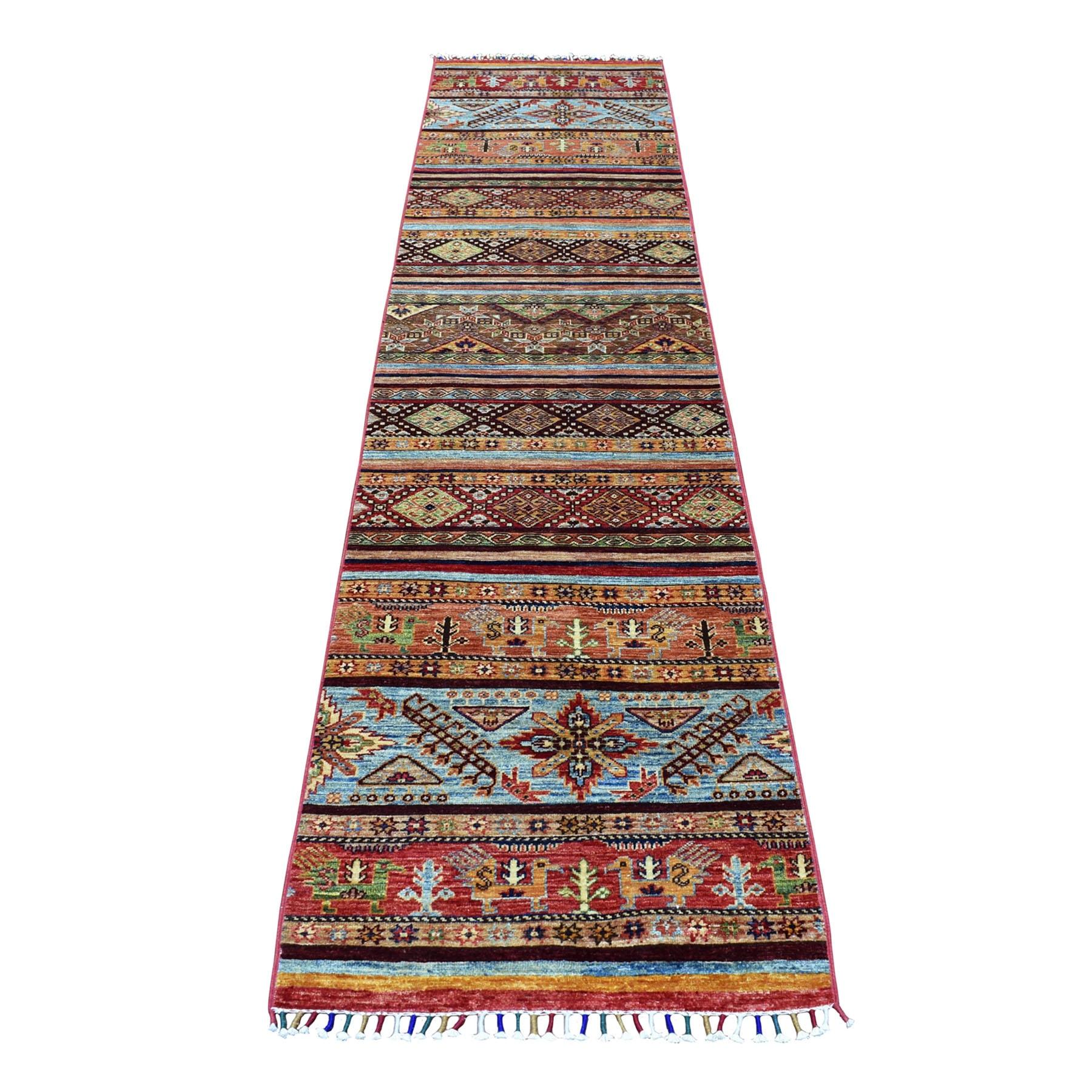 "2'3""X9'8"" Orange Khorjin Design Runner Super Kazak Tribal Pure Wool Hand Knotted Oriental Rug moaeb9d7"