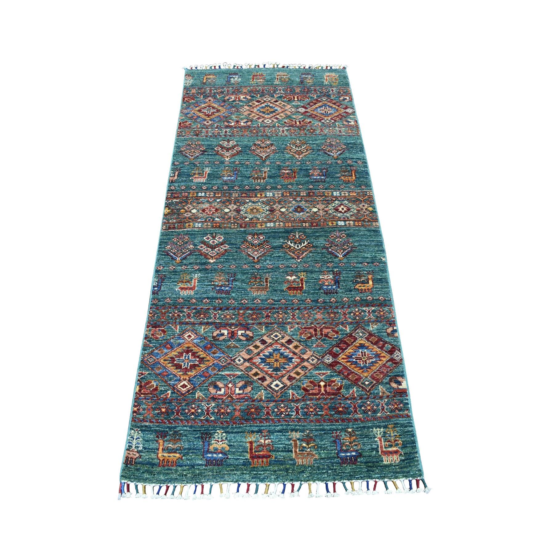 "2'7""x6'1"" Green Khorjin Design Runner Super Kazak Pictorial Pure Wool Hand Knotted Oriental Rug 52949"