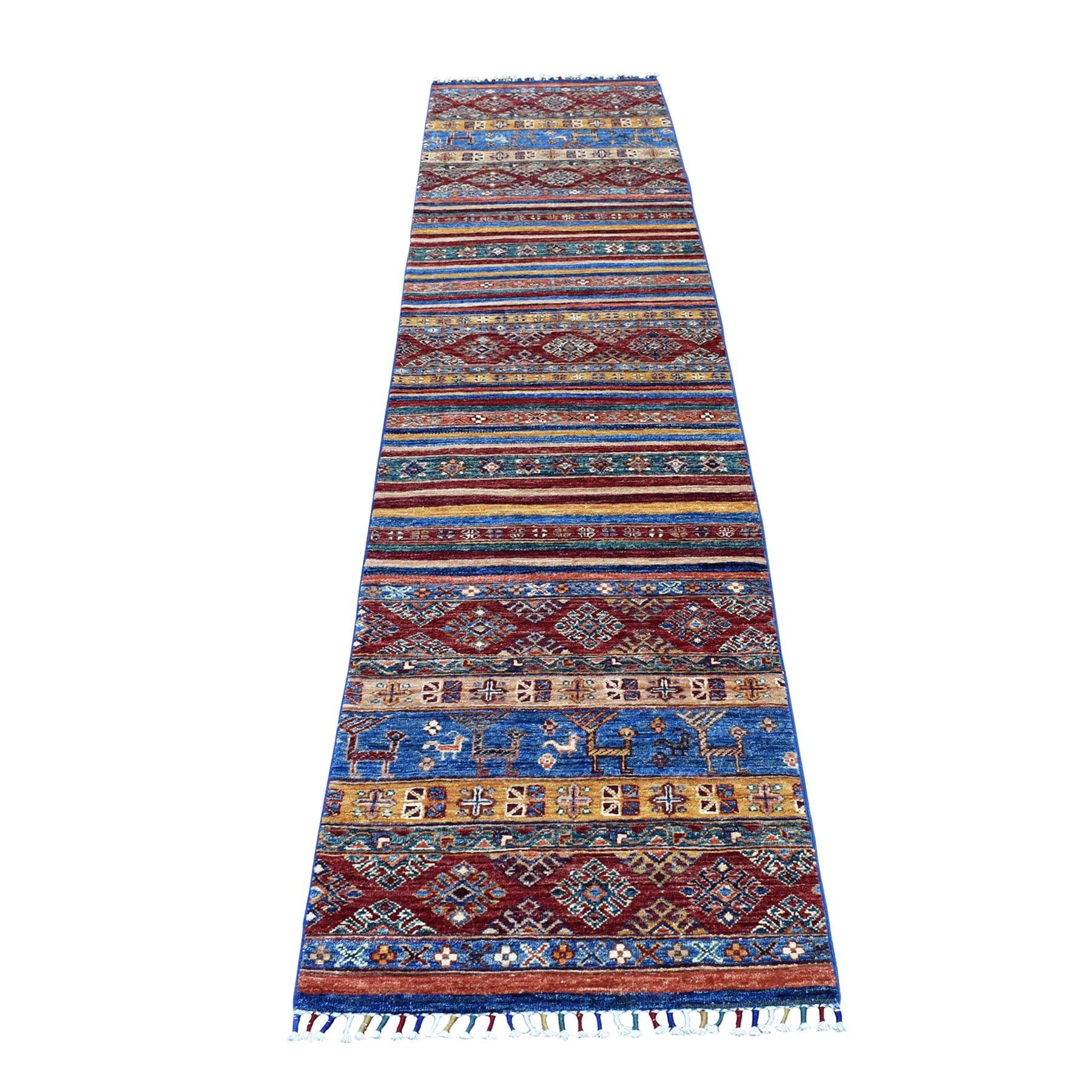 "2'2""X10'2"" Blue Khorjin Design Runner Super Kazak Geometric Pure Wool Hand Knotted Oriental Rug moaeb9e0"