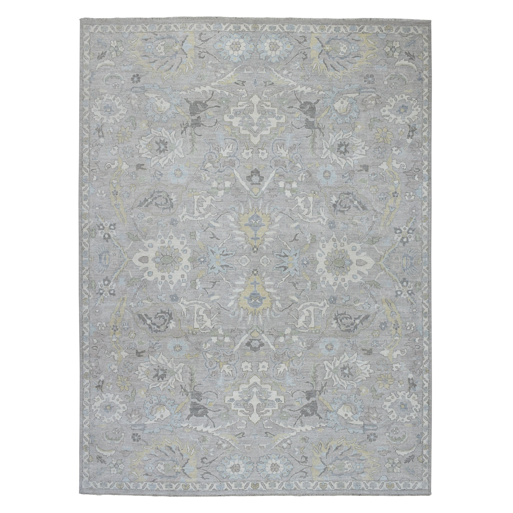 "8'10""X11'10"" White Wash Peshawar Pure Wool Hand Knotted Oriental Rug moaeb9ec"
