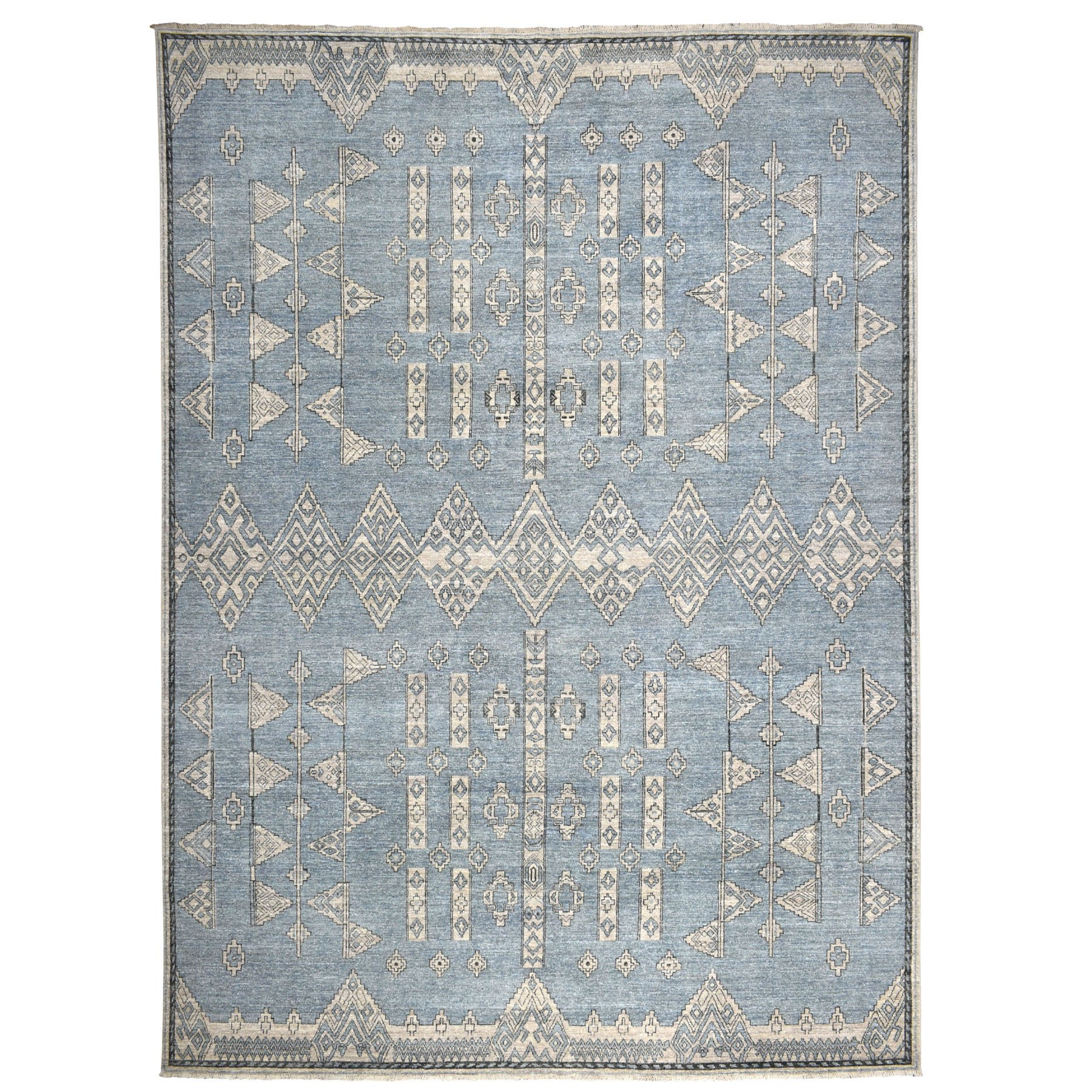 """10'1""""x13'10"""" Blue Peshawar With Berber Motifs Design Pure Wool Hand-Knotted Oriental Rug 52962"""