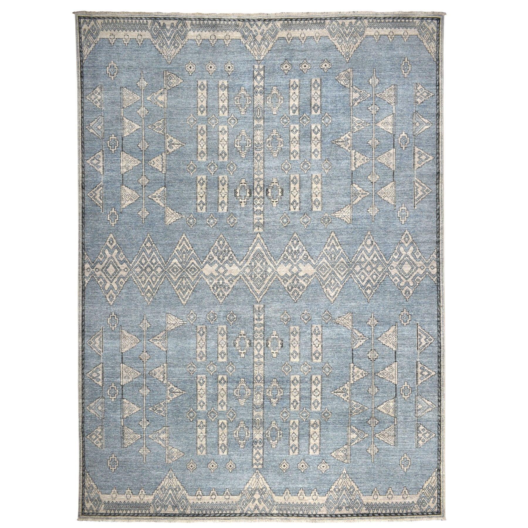 "10'1""X13'10"" Blue Peshawar With Berber Motifs Design Pure Wool Hand-Knotted Oriental Rug moaeb96b"