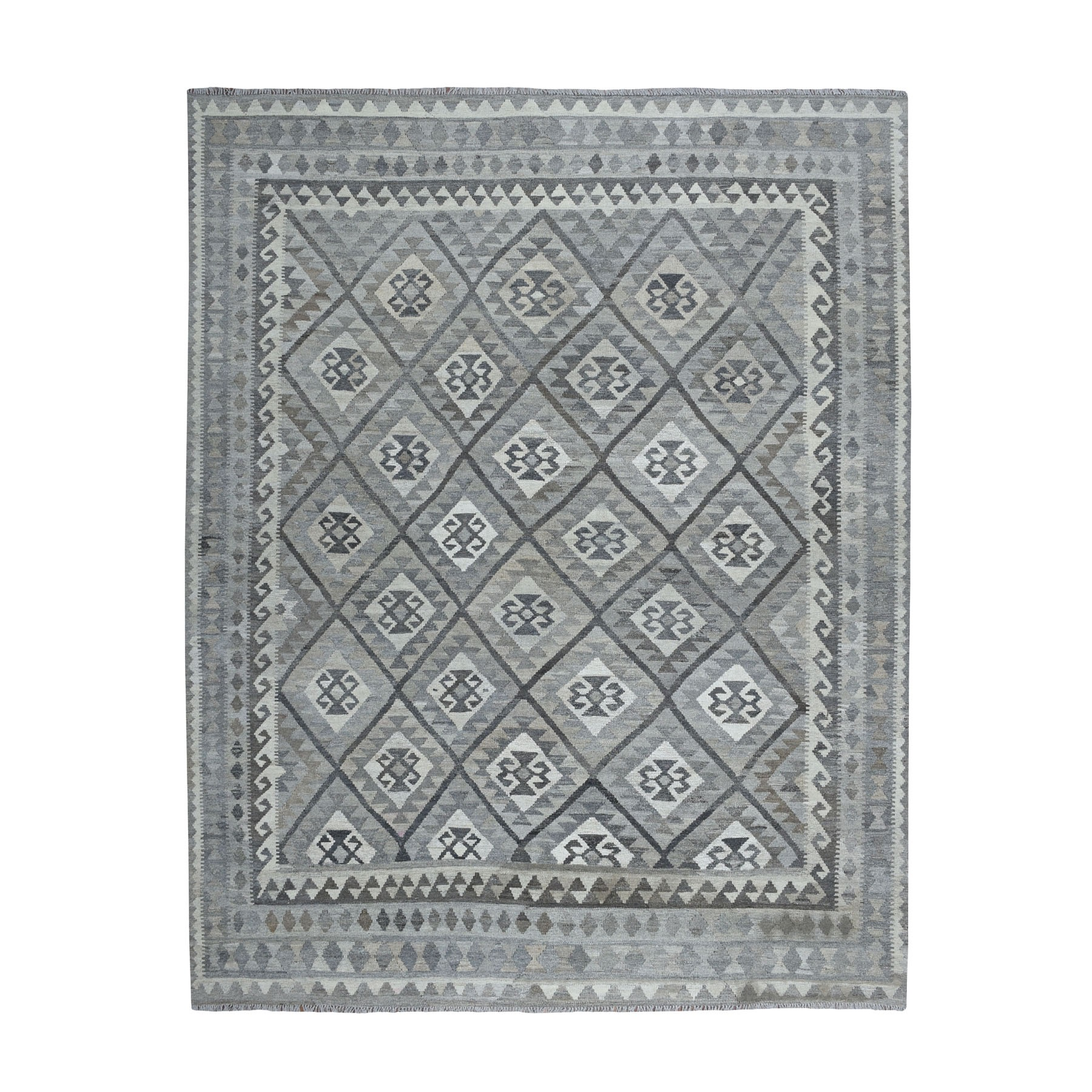 """8'4""""X9'5"""" Undyed Natural Wool Afghan Kilim Reversible Hand Woven Oriental Rug moaeb967"""