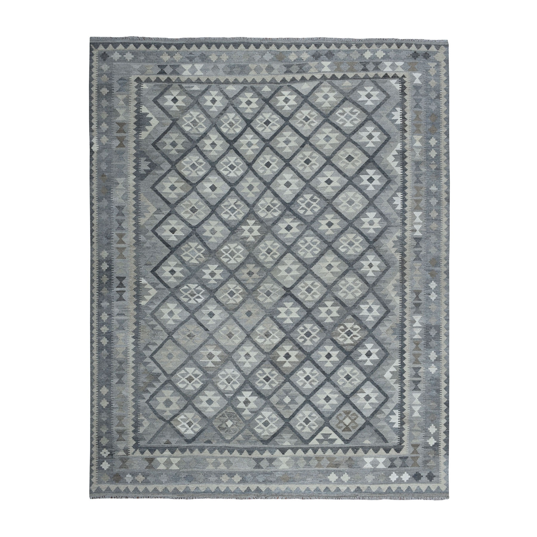 """8'2""""X9'8"""" Undyed Natural Wool Afghan Kilim Reversible Hand Woven Oriental Rug moaeb969"""