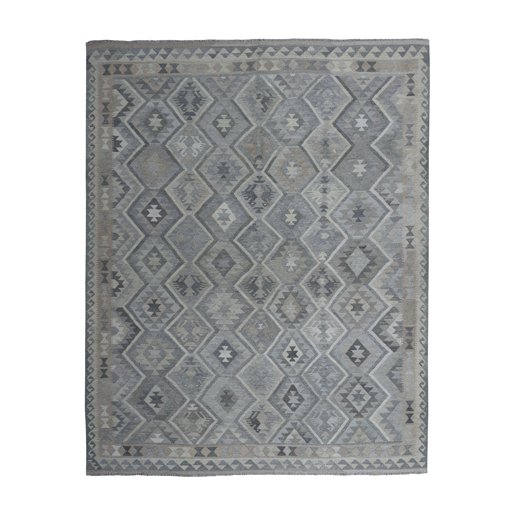 """8'4""""X10' Undyed Natural Wool Afghan Kilim Reversible Hand Woven Oriental Rug moaeb970"""