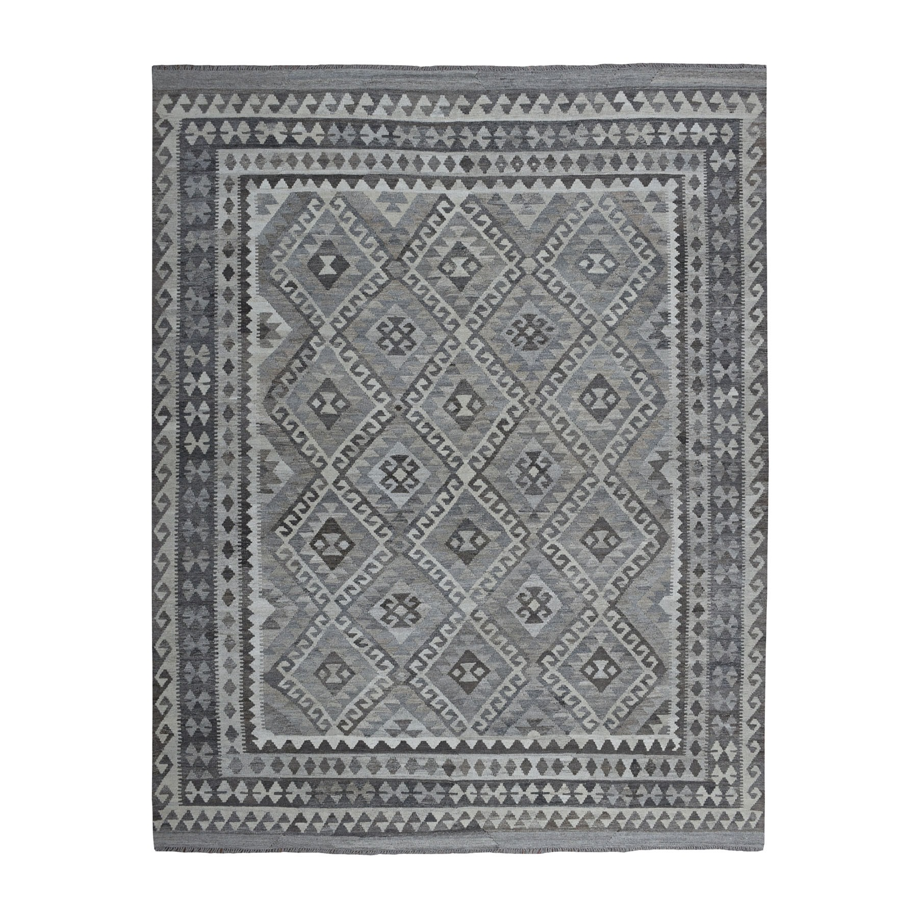 """8'3""""X9'7"""" Undyed Natural Wool Afghan Kilim Reversible Hand Woven Oriental Rug moaeb97b"""
