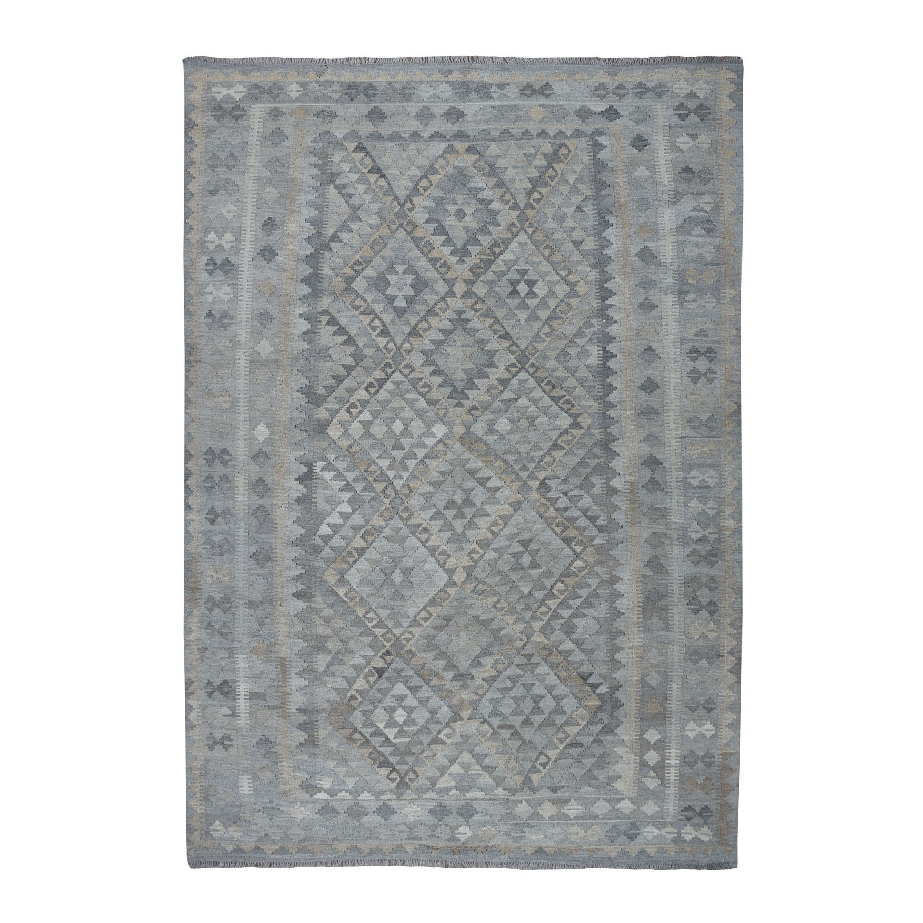 "6'6""X9'7"" Undyed Natural Wool Afghan Kilim Reversible Hand Woven Oriental Rug moaeb97e"