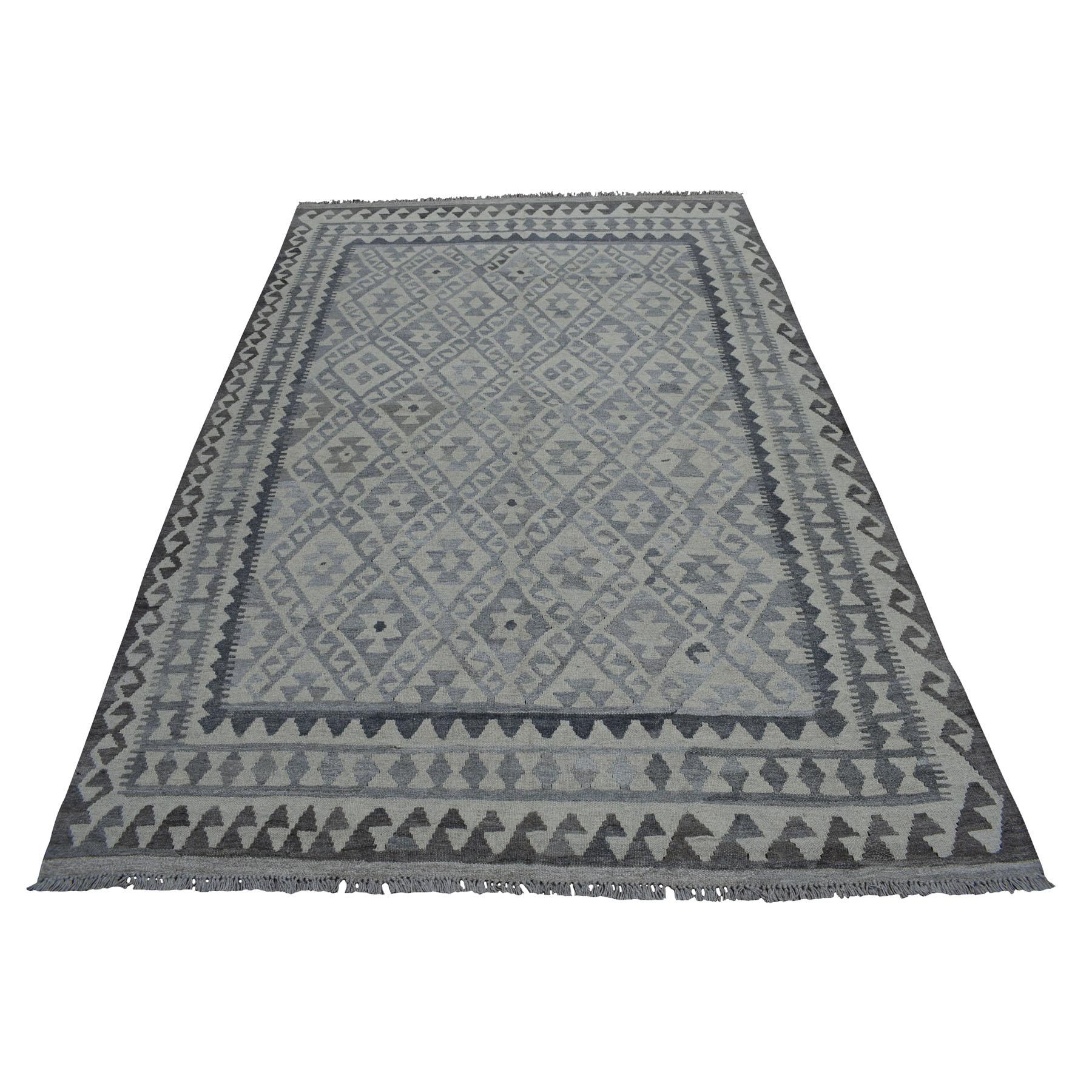 "5'9""X8'3"" Reversible Organic Wool Afghan Kilim Hand Woven Oriental Rug moaeb98b"