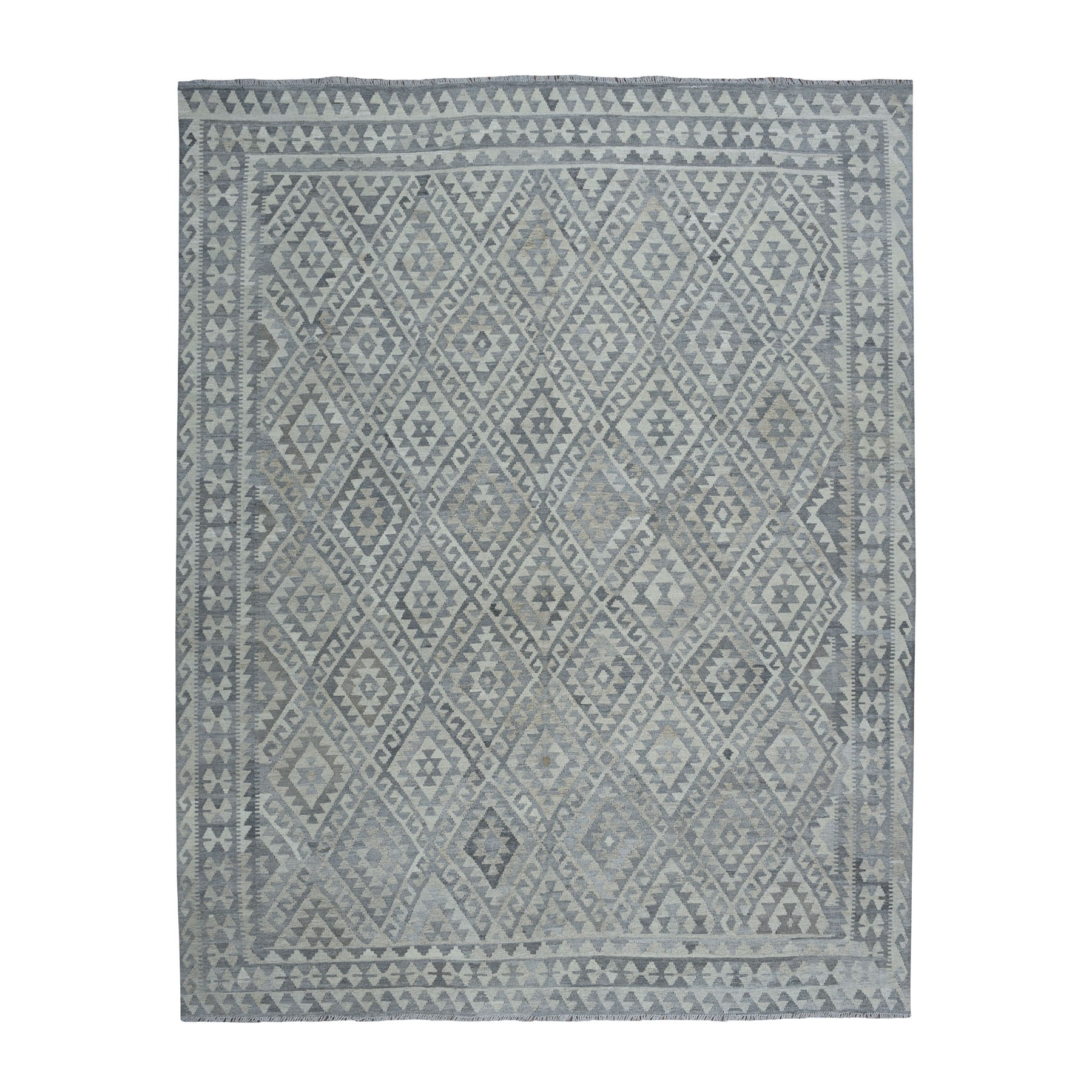"""8'6""""x10'2"""" Undyed Natural Wool Afghan Kilim Reversible Hand Woven Oriental Rug"""
