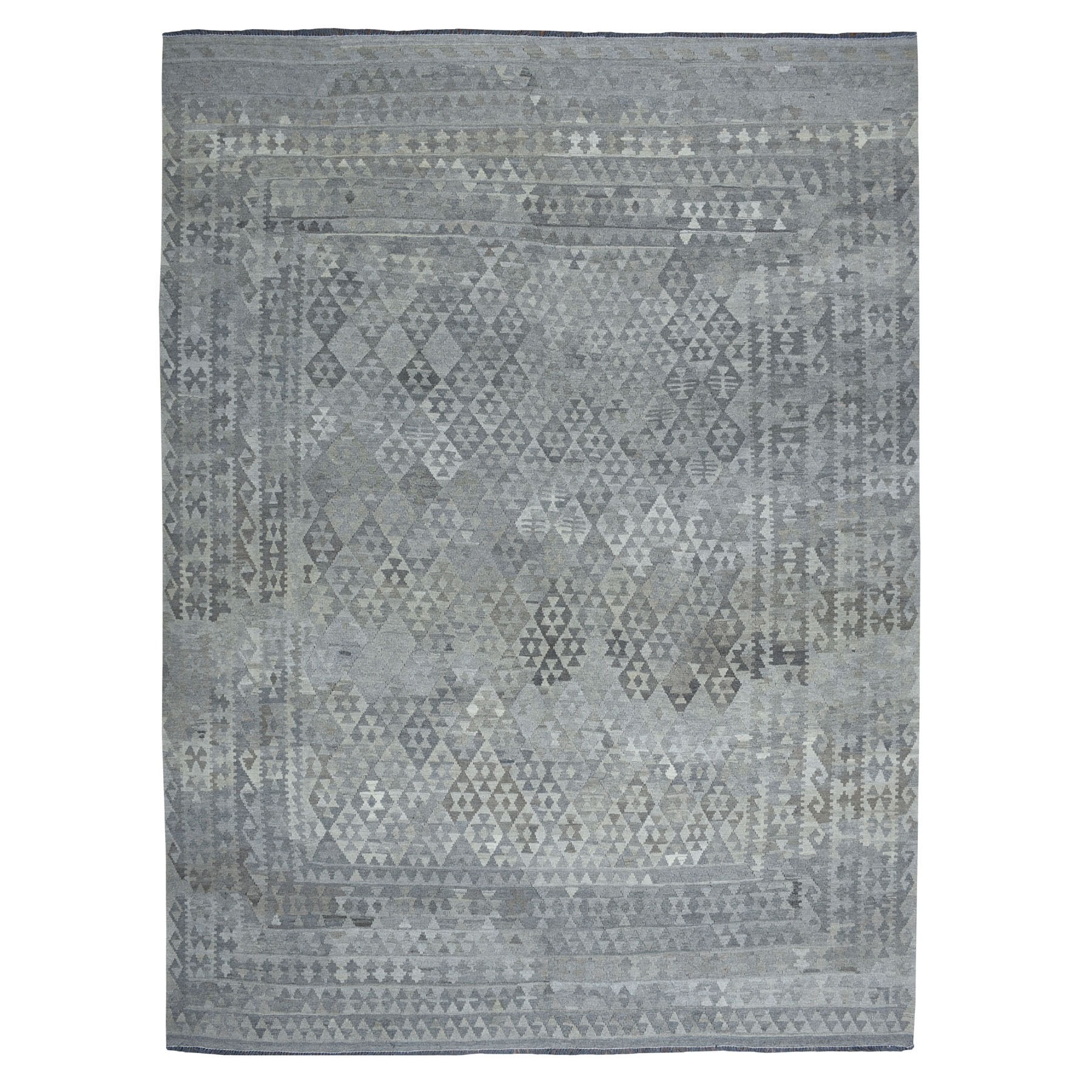 """8'9""""X11'6"""" Undyed Natural Wool Afghan Kilim Reversible Hand Woven Oriental Rug moaeb987"""