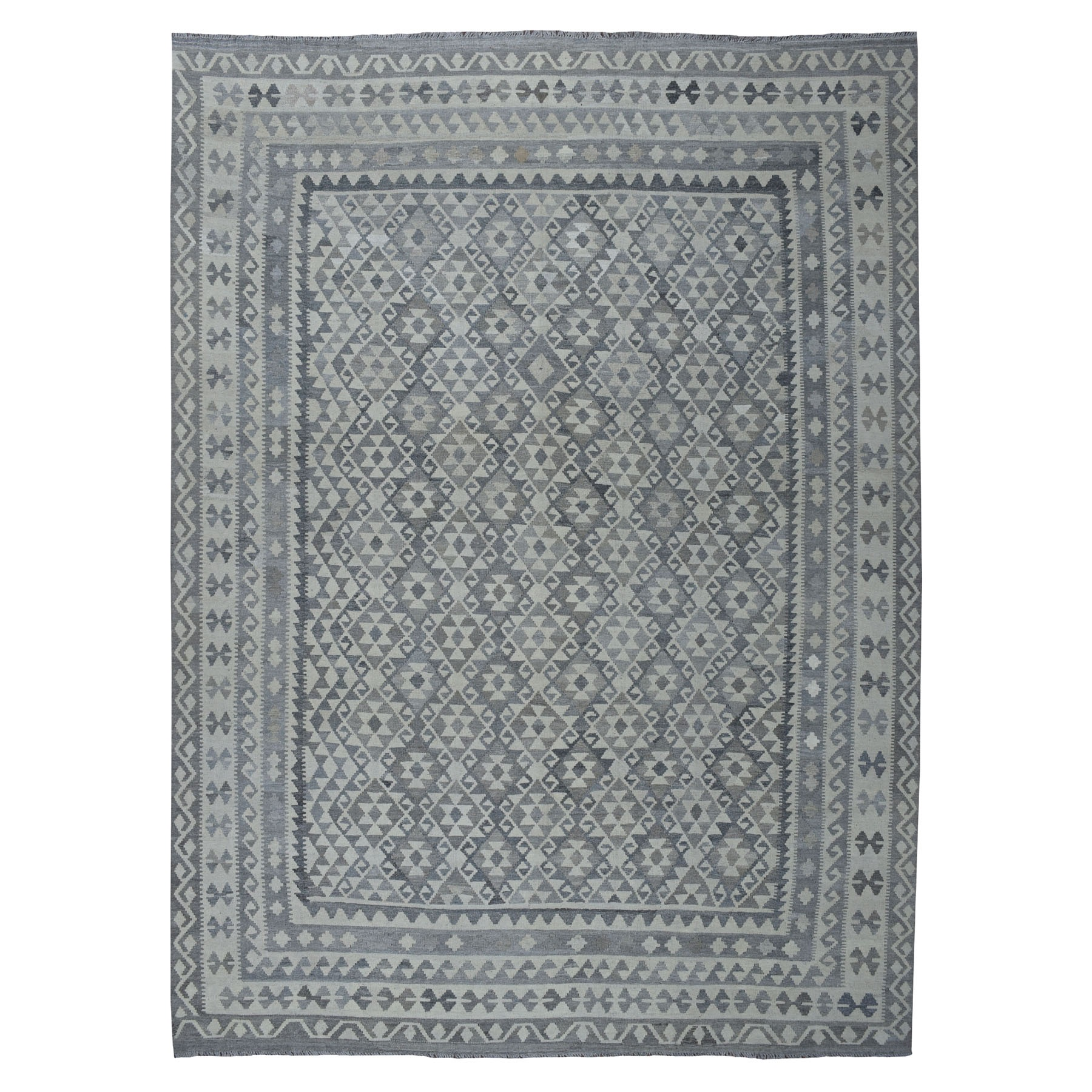 """8'9""""X11'4"""" Undyed Natural Wool Afghan Kilim Reversible Hand Woven Oriental Rug moaeb988"""