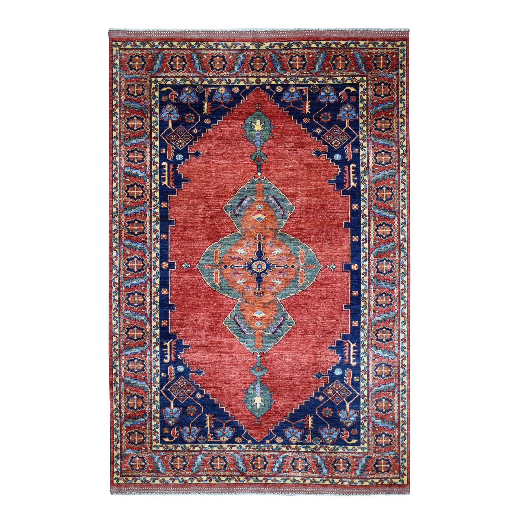 "6'2""X8'9"" Red Turkoman Ersari Heriz Design Pure Wool Hand Knotted Oriental Rug moaeb99c"