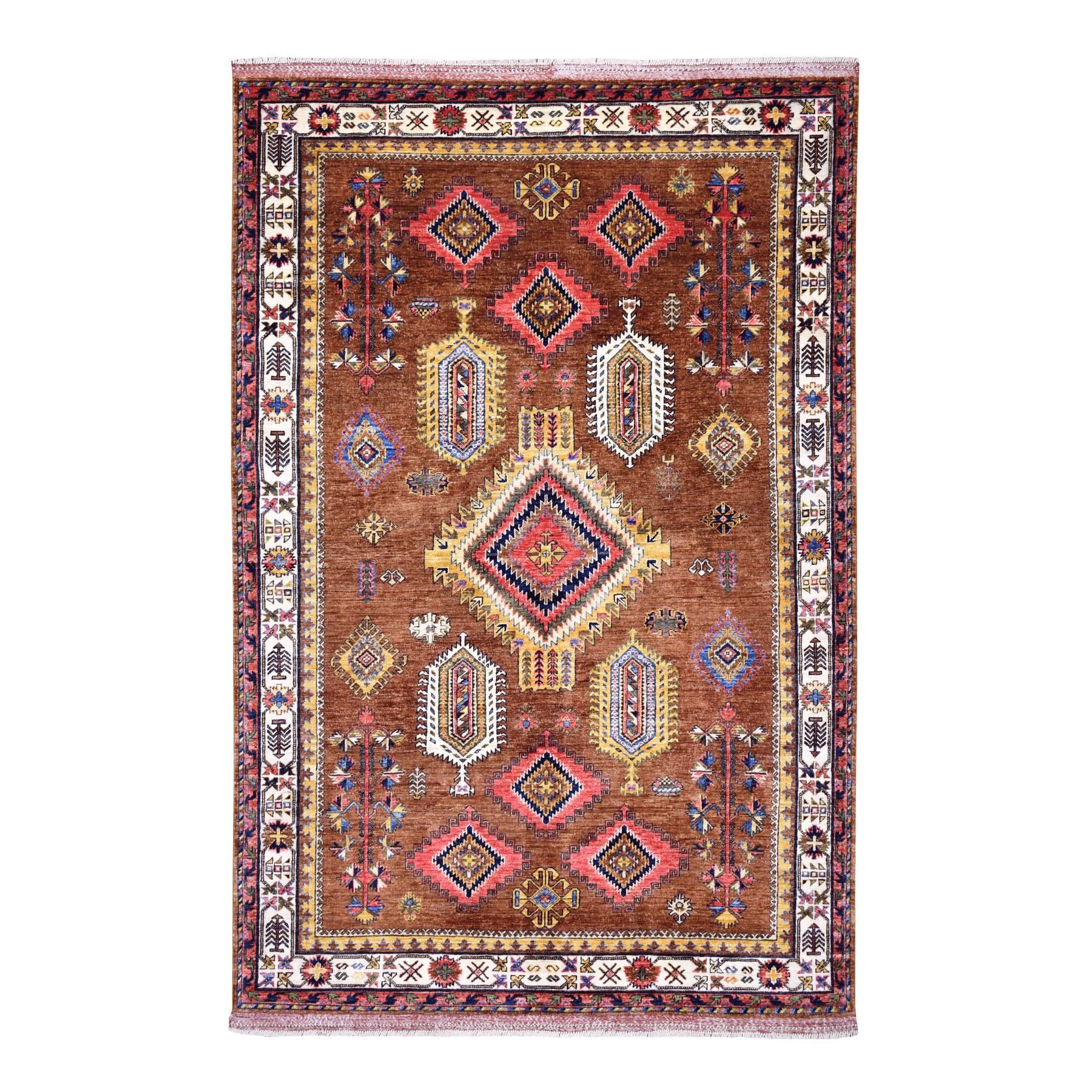 "6'X8'8"" Brown Geometric Design Afghan Ersari Pure Wool Hand Knotted Oriental Rug moaeb99e"