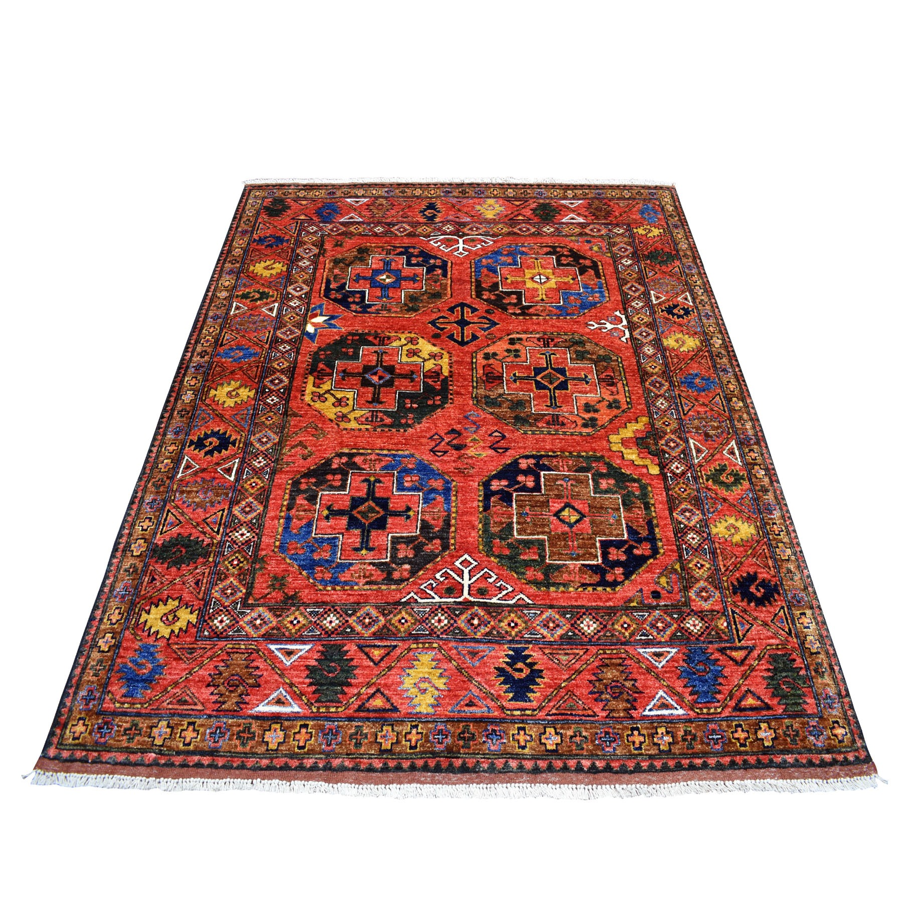 "5'X6'4"" Red Afghan Ersari Elephant Feet Design Pure Wool Hand Knotted Oriental Rug moaeb998"