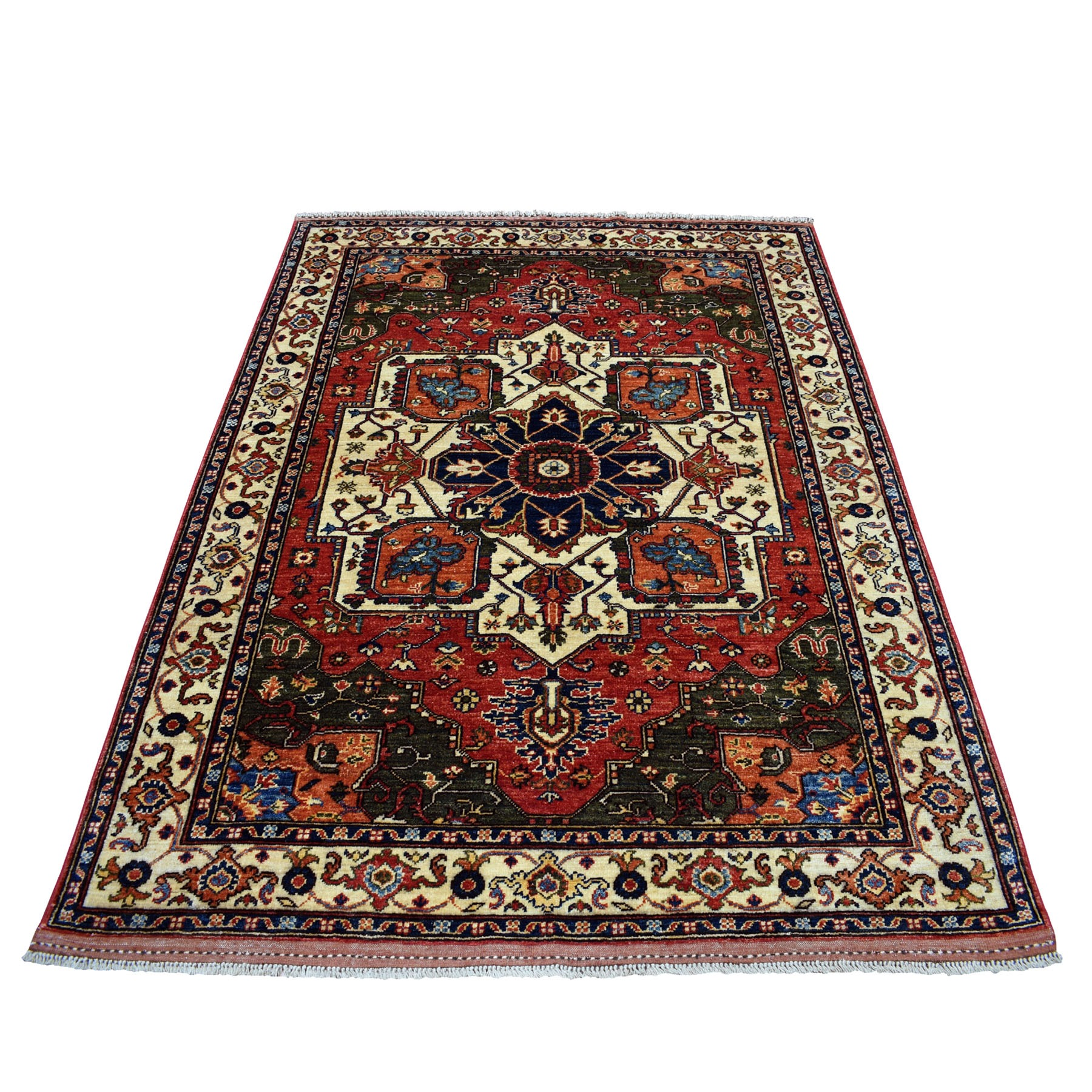 "5'2""X6'7"" Afghan Ersari Natural Dyes Heriz Design Pure Wool Hand Knotted Oriental Rug moaeb999"