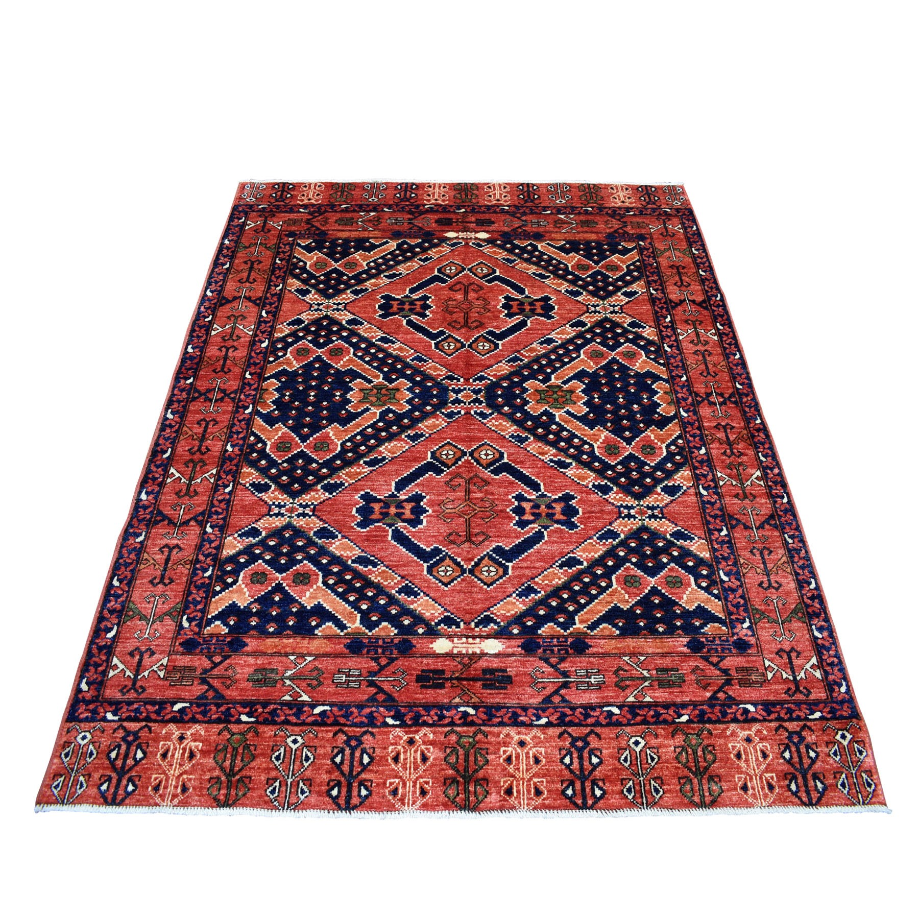 """5'X6'4"""" Red Afghan Ersari Natural Dyes Tribal Design Pure Wool Hand Knotted Oriental Rug moaec00b"""