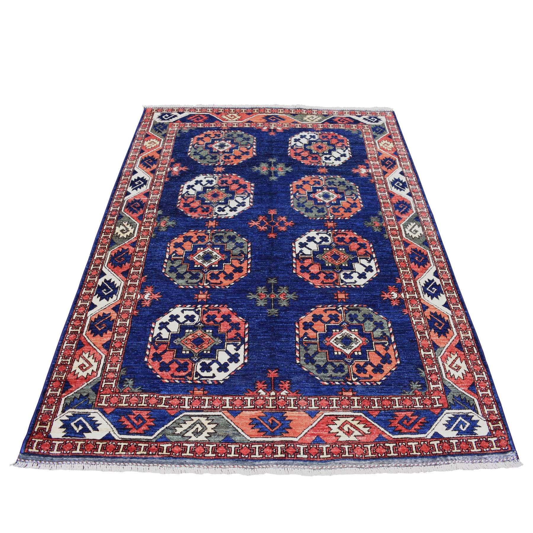 """5'1""""X6'8"""" Blue Afghan Ersari Natural Dyes Elephant Feet Design Pure Wool Hand Knotted Oriental Rug moaec00c"""
