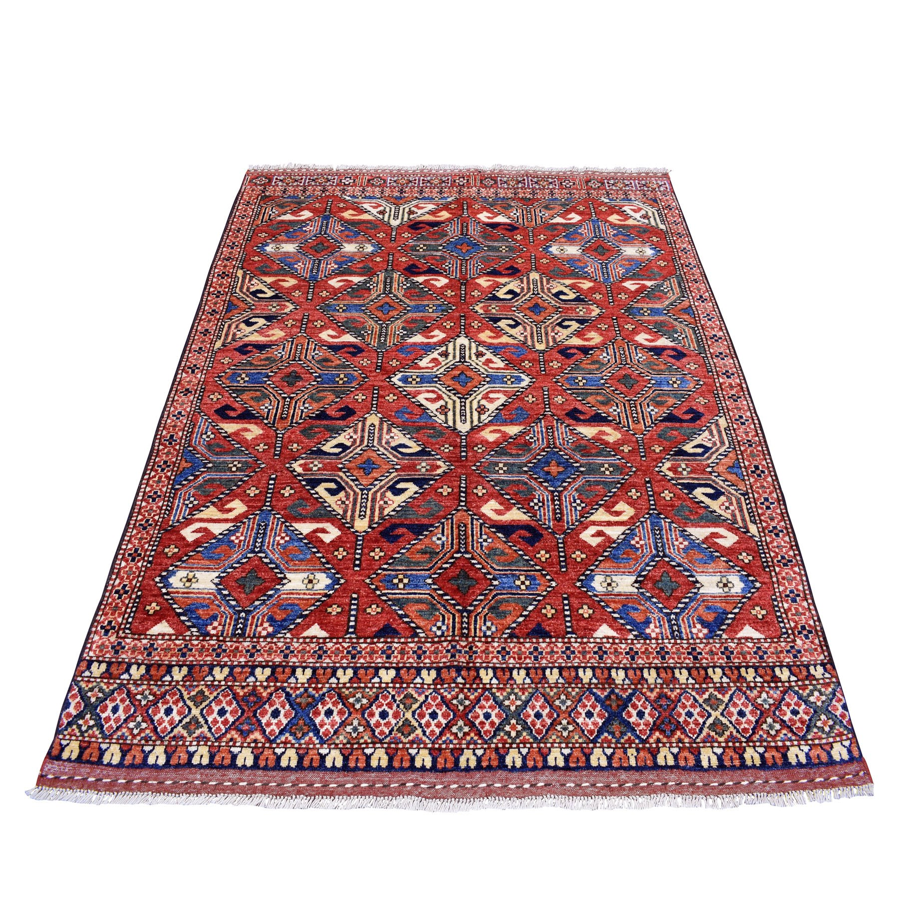 """5'3""""X6'6"""" Red Afghan Ersari Natural Dyes Tribal Design Pure Wool Hand Knotted Oriental Rug moaec00d"""