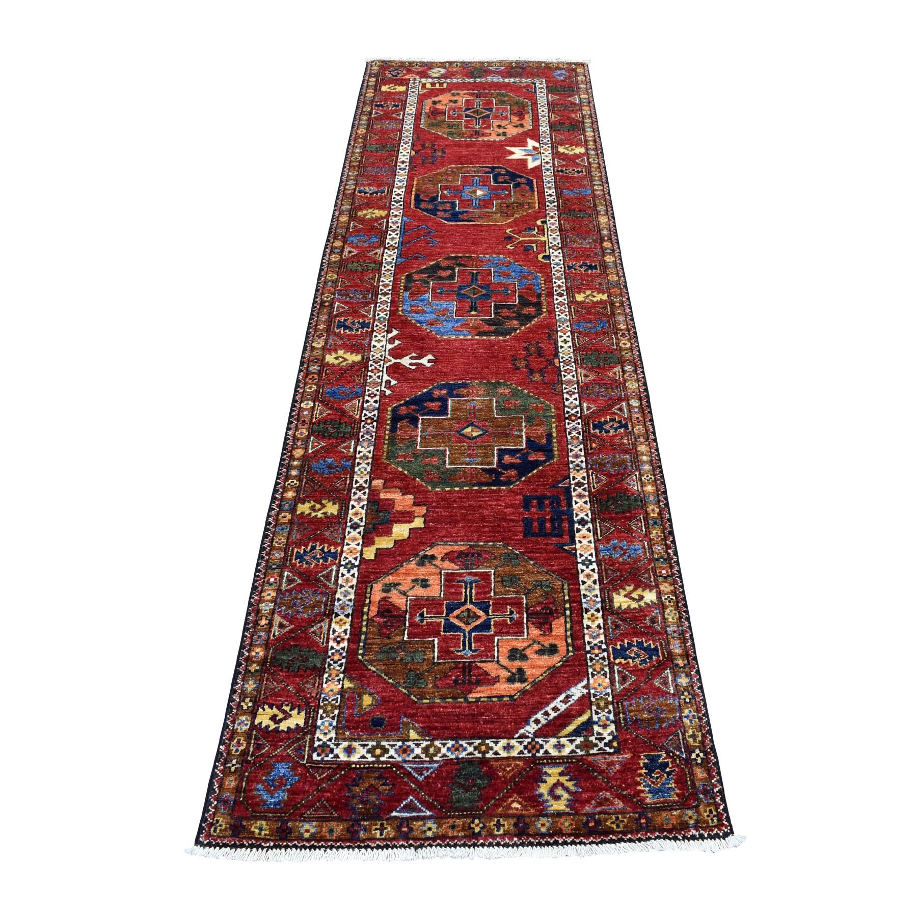 "2'8""X9'2"" Red Afghan Ersari Elephant Feet Design Pure Wool Hand Knotted Oriental Rug moaec006"
