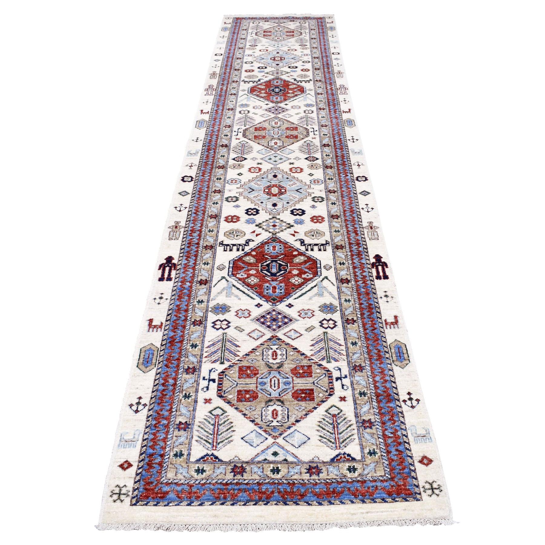 "2'10""X13'10"" Ivory Afghan Ersari Runner Geometric Design Pure Wool Hand Knotted Oriental Rug moaec007"