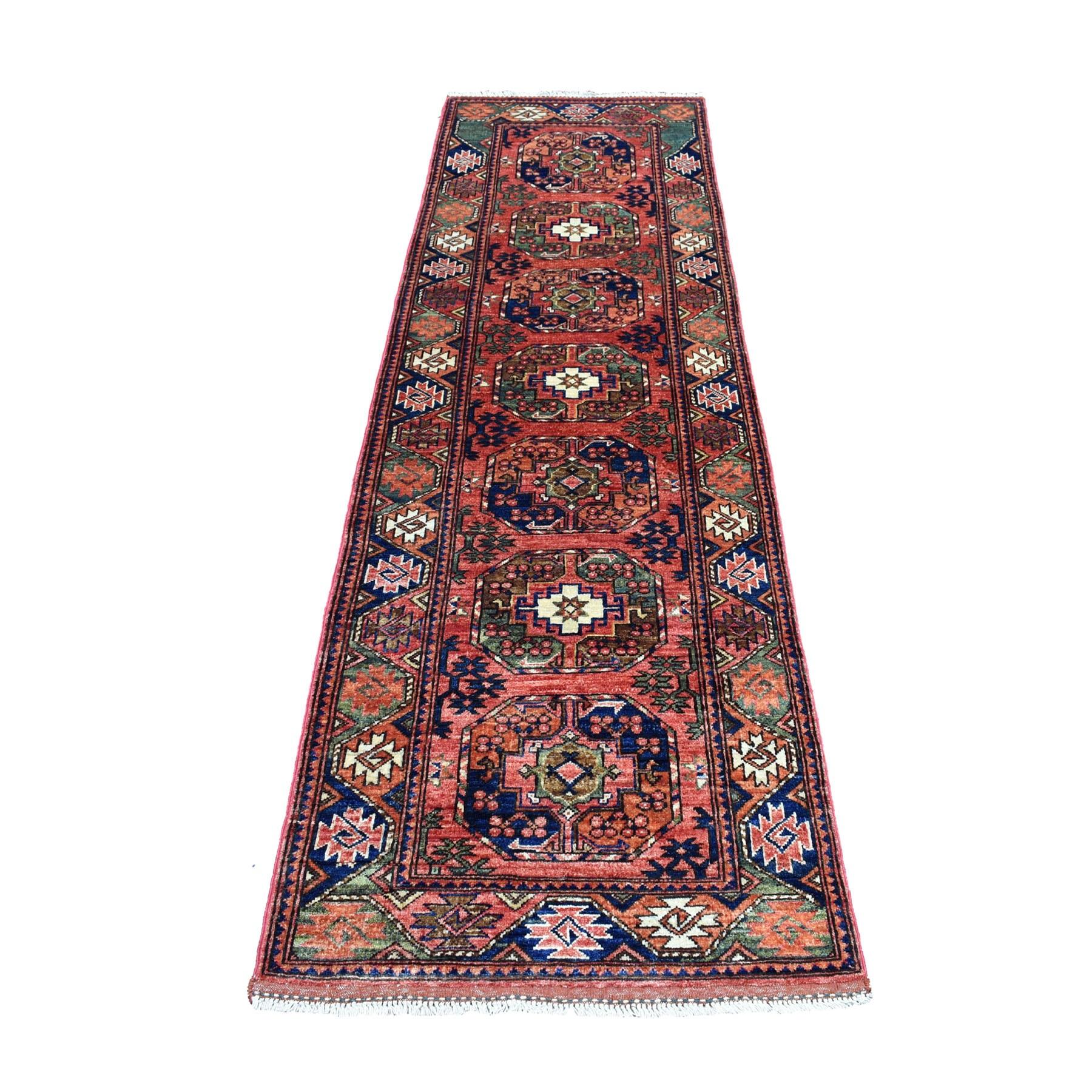 "2'8""X9'6"" Red Afghan Ersari Elephant Feet Design Pure Wool Hand Knotted Oriental Rug moaec008"