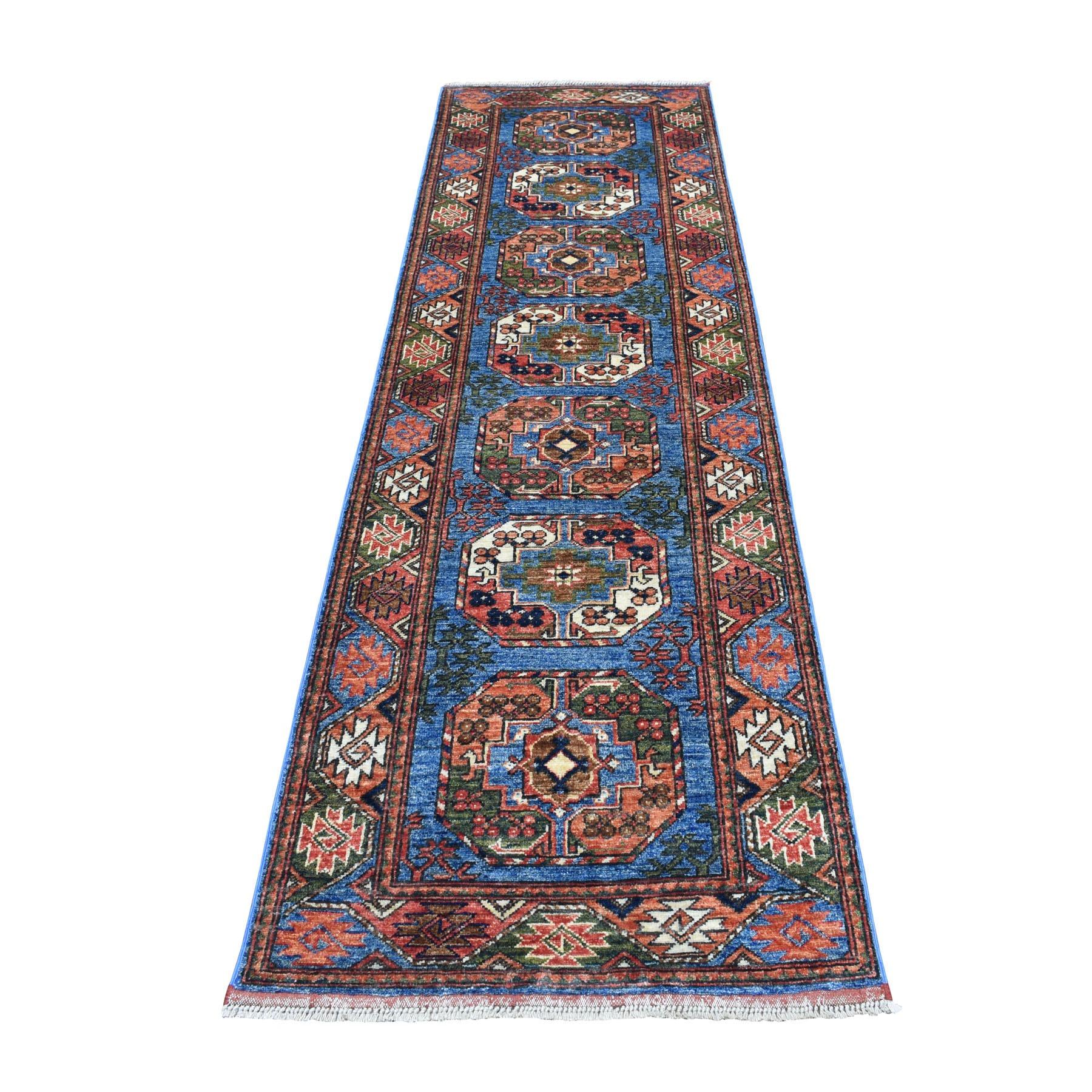 "2'8""X9'2"" Blue Afghan Ersari Elephant Feet Design Pure Wool Hand Knotted Oriental Rug  moaec009"