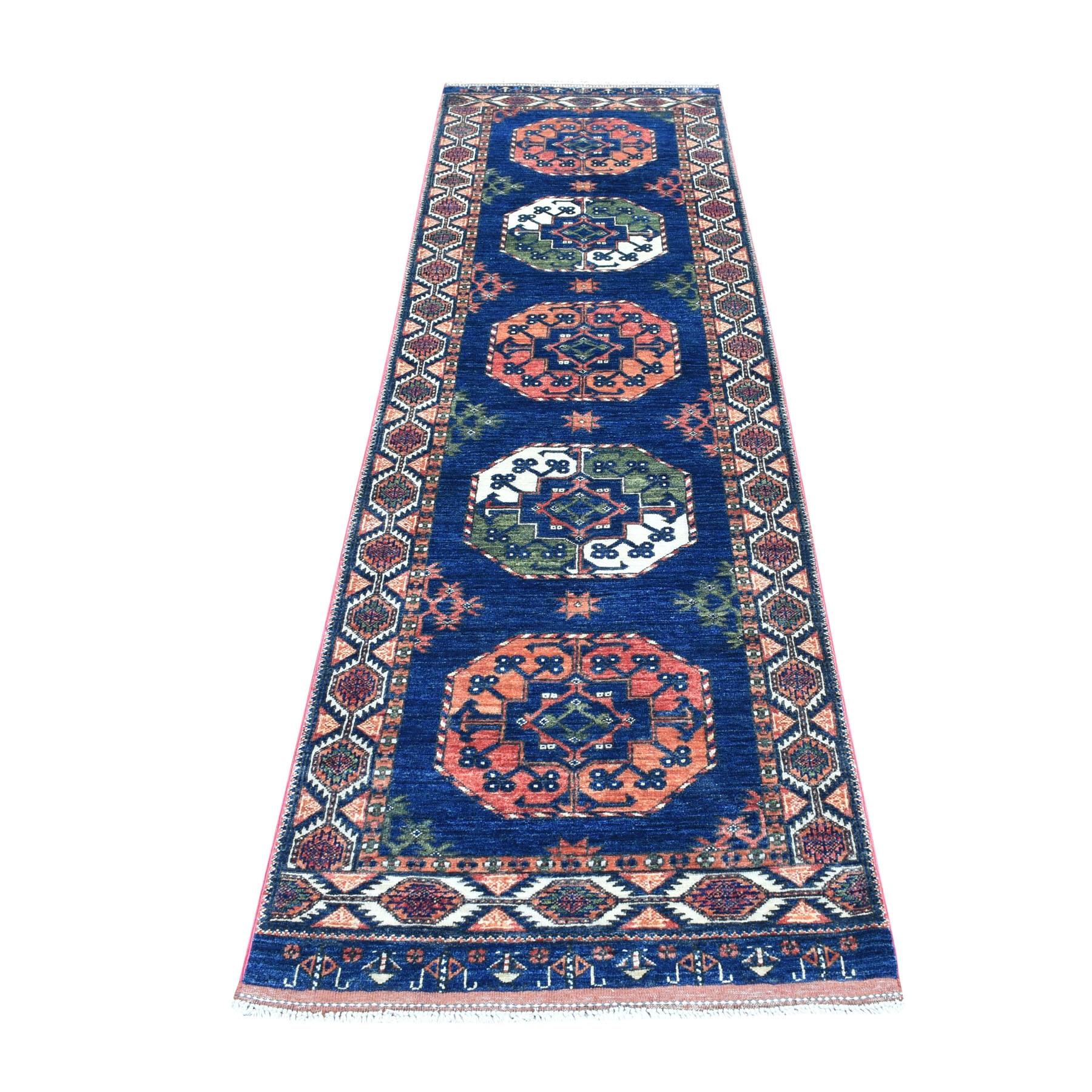 "2'8""X9'7"" Blue Afghan Ersari Elephant Feet Design Pure Wool Hand Knotted Oriental Rug moaec0a0"
