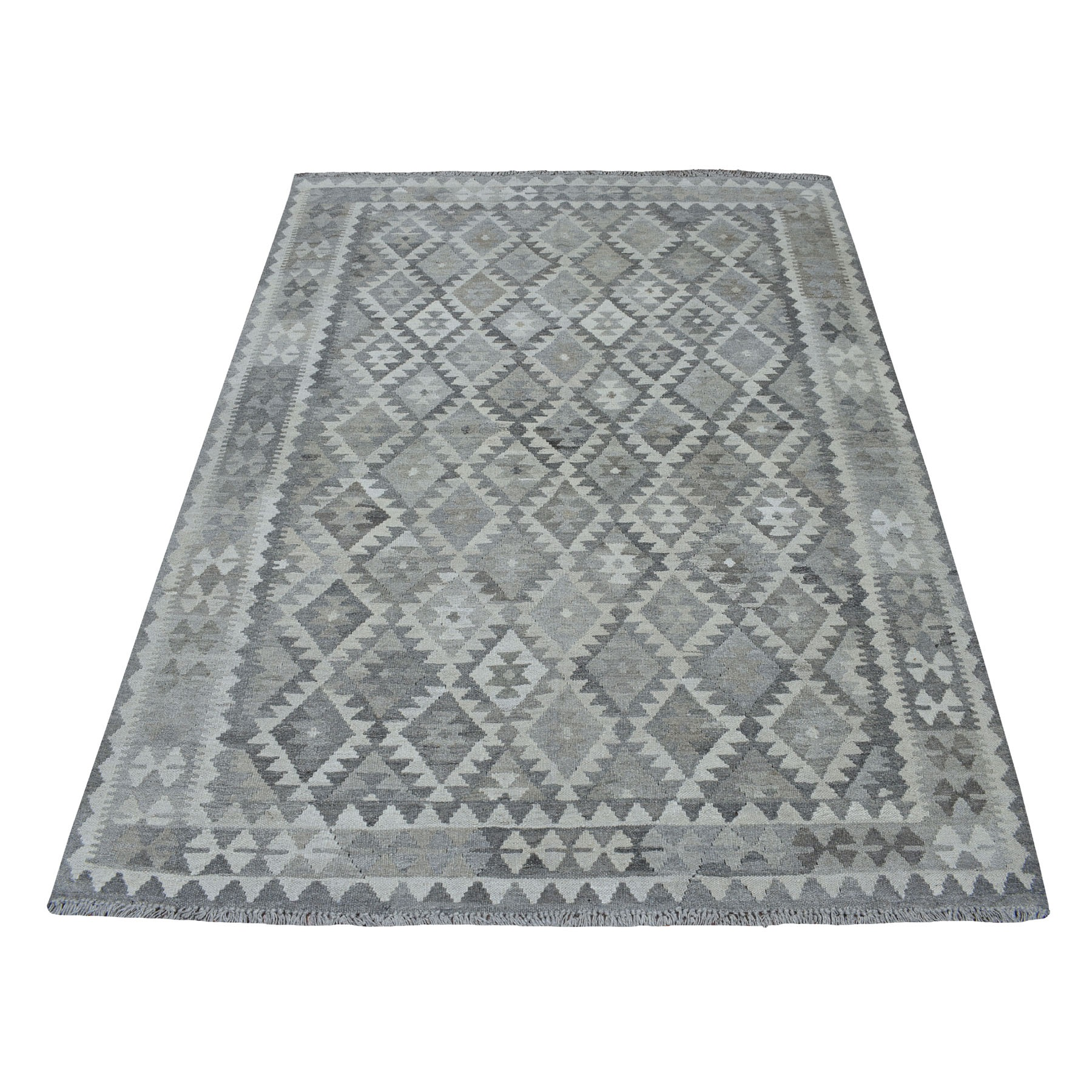 "5'x6'5"" Undyed Natural Wool Afghan Kilim Reversible Hand Woven Oriental Rug"