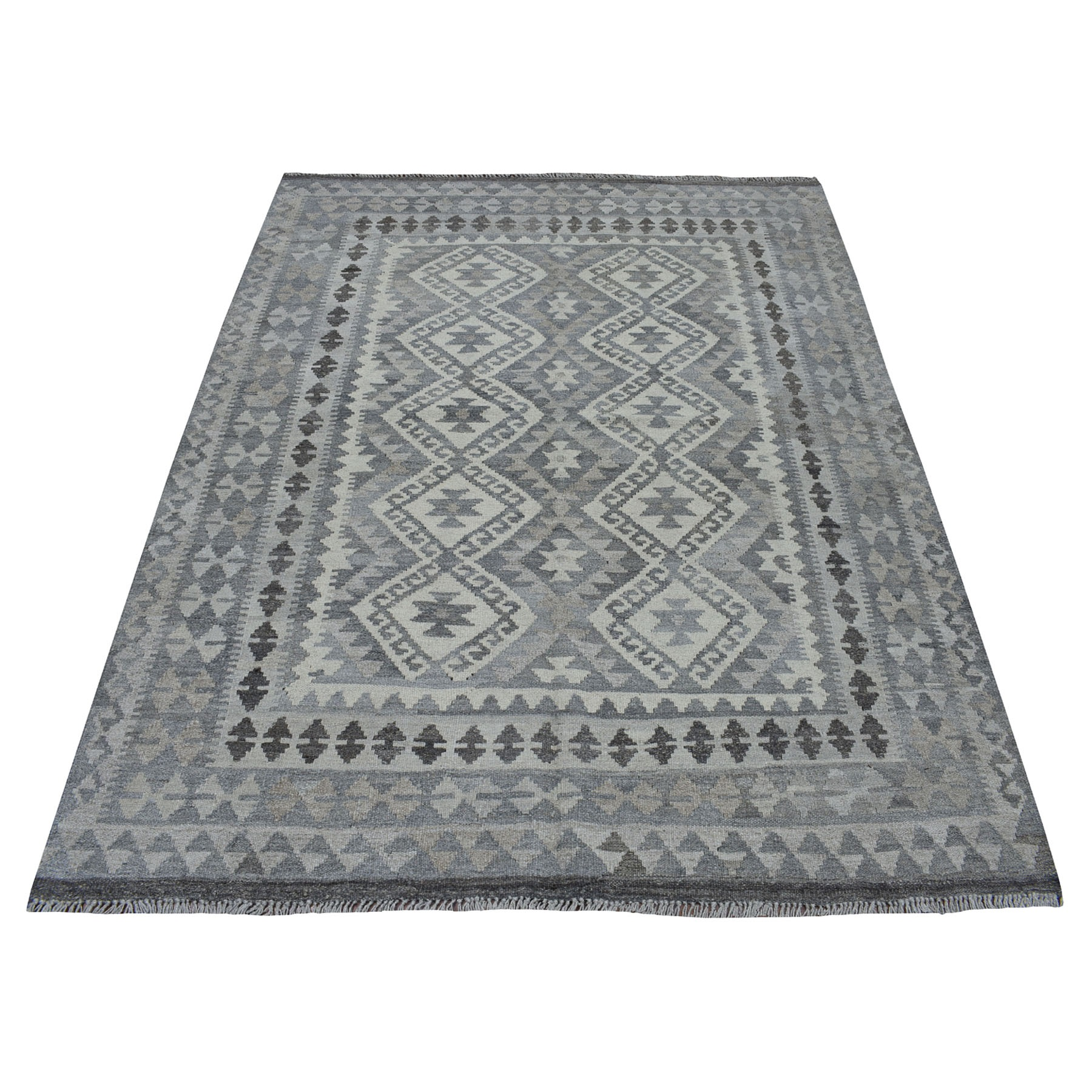 """5'1""""X6'7"""" Undyed Natural Wool Afghan Kilim Reversible Hand Woven Oriental Rug moaec0ab"""