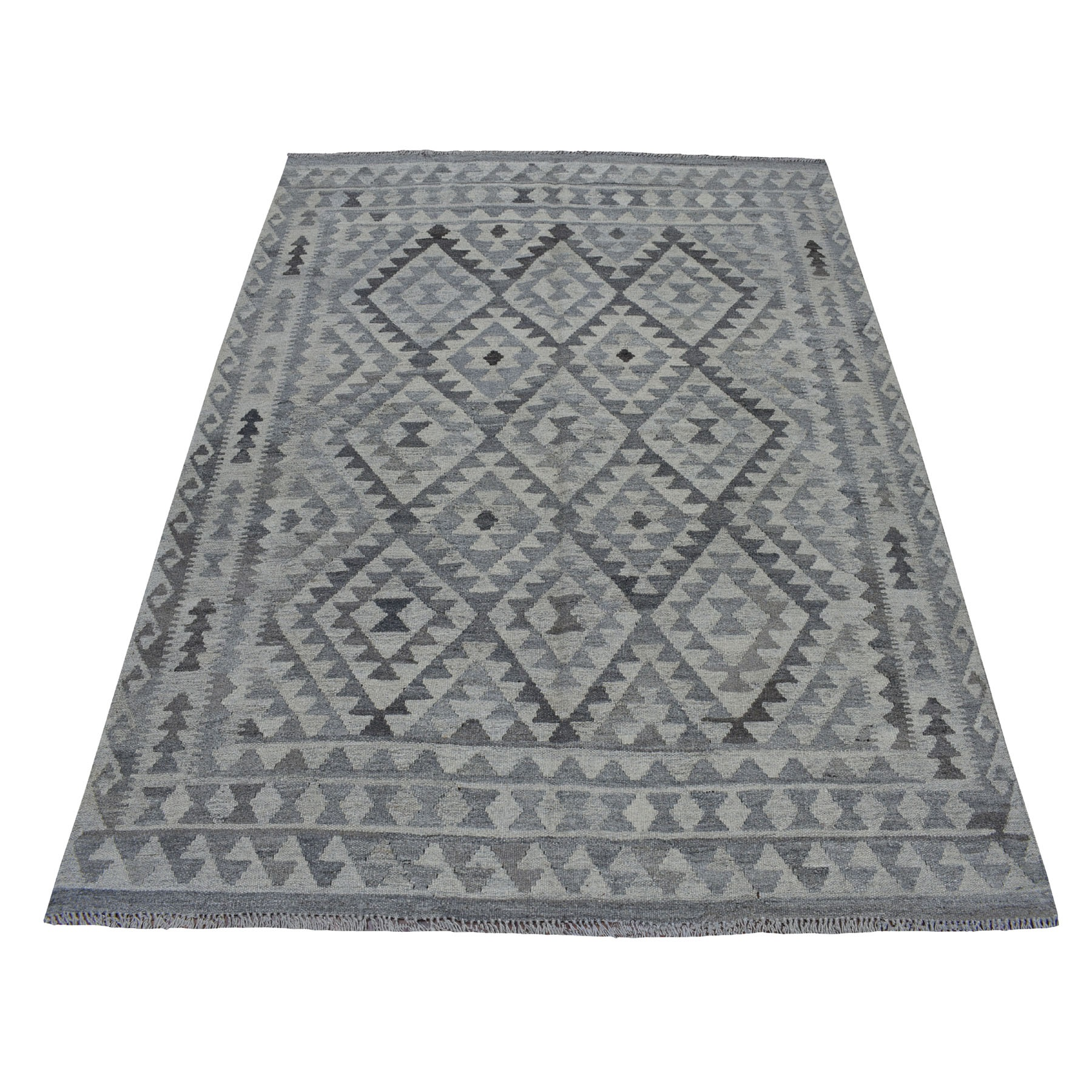 """5'3""""X6'5"""" Undyed Natural Wool Afghan Kilim Reversible Hand Woven Oriental Rug moaec0ad"""
