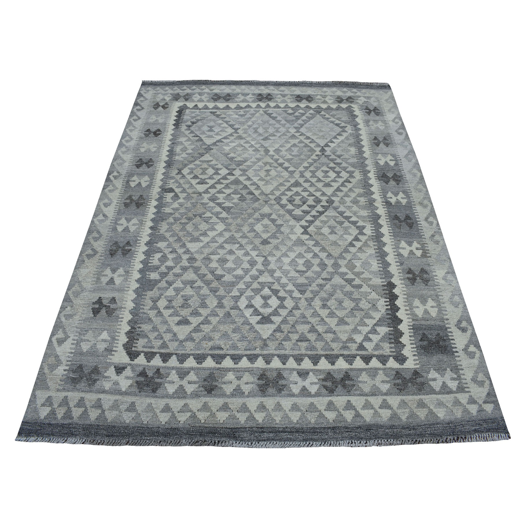 """5'X6'8"""" Undyed Natural Wool Afghan Kilim Reversible Hand Woven Oriental Rug moaec0ae"""