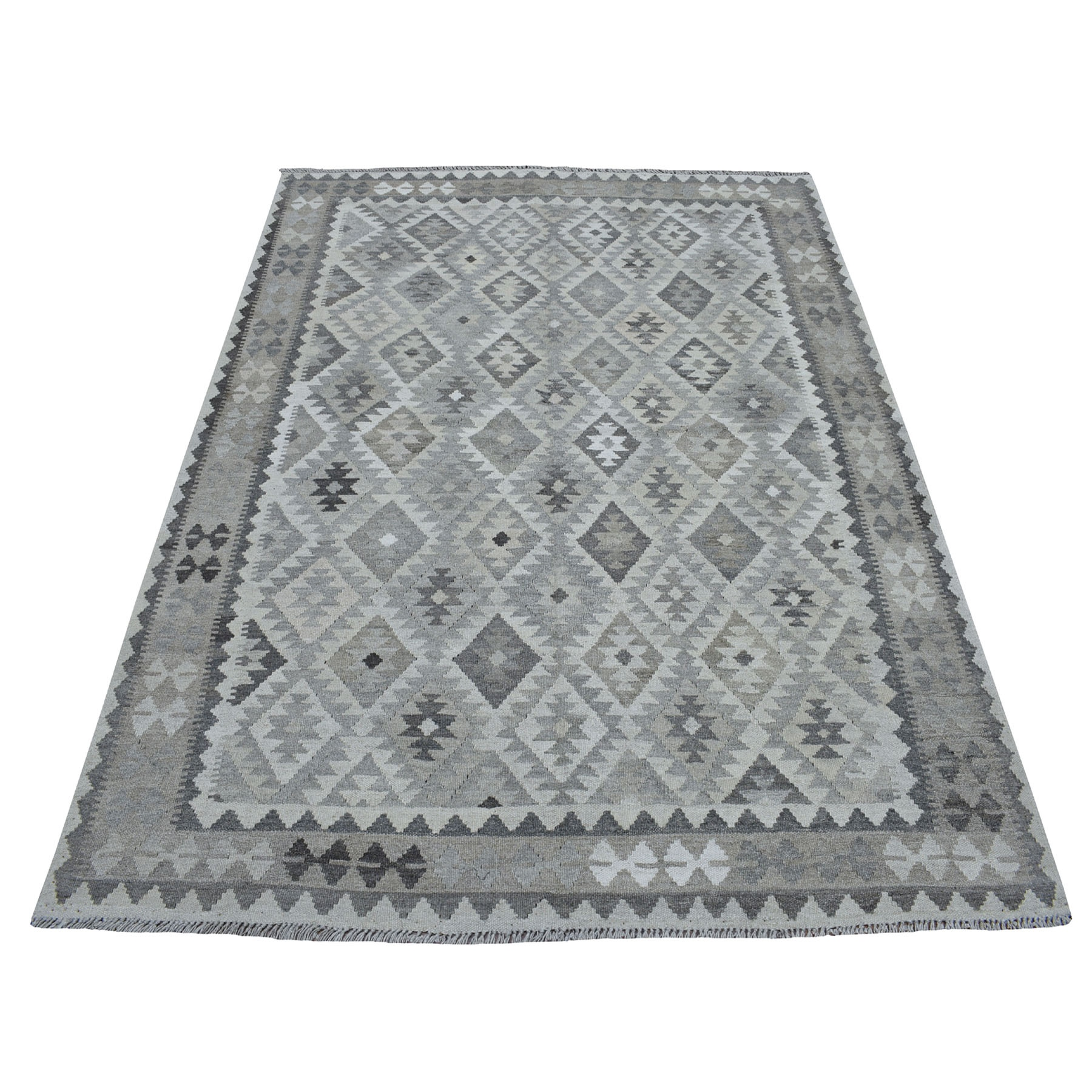 """5'X6'6"""" Undyed Natural Wool Afghan Kilim Reversible Hand Woven Oriental Rug moaec0a6"""