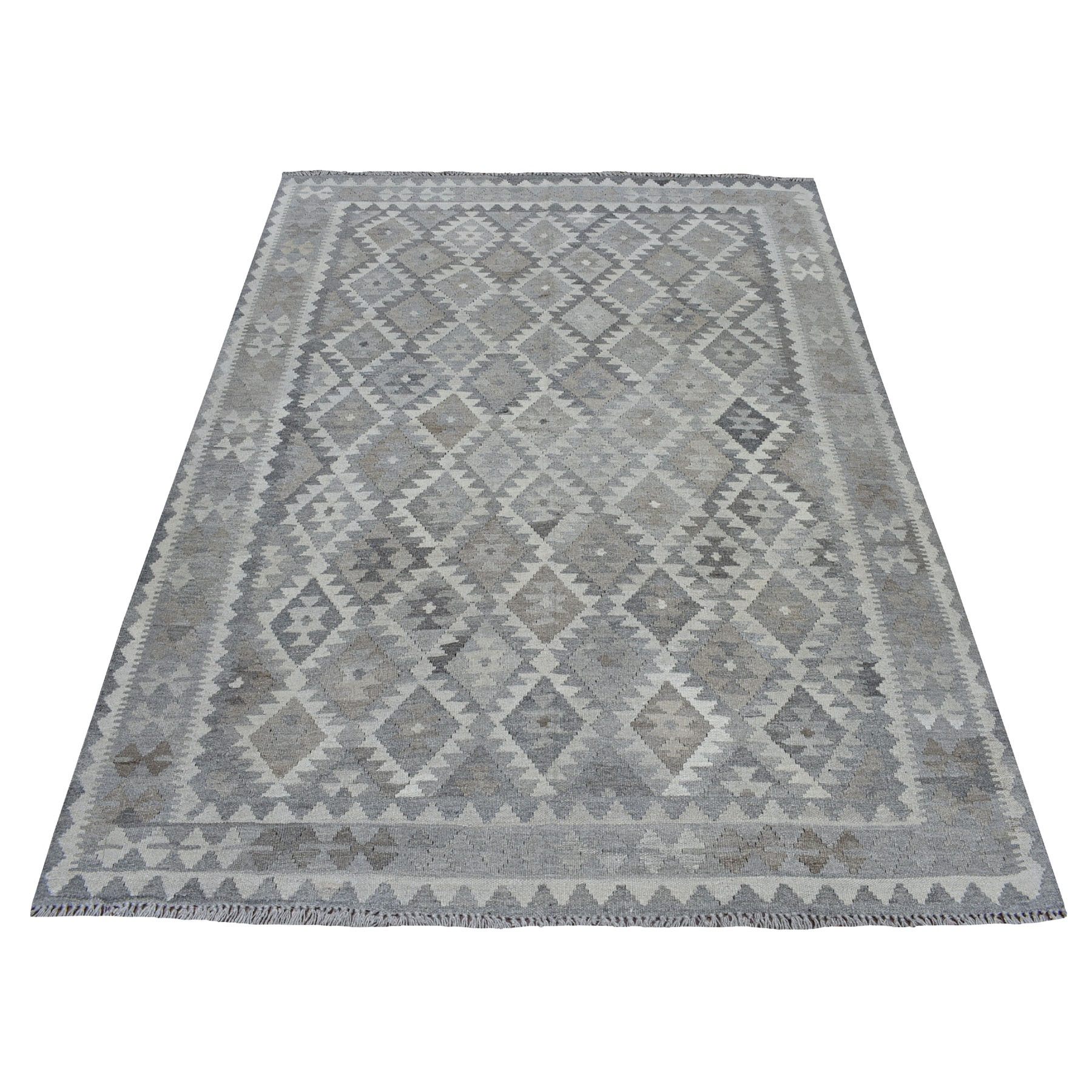 """5'X6'6"""" Undyed Natural Wool Afghan Kilim Reversible Hand Woven Oriental Rug moaec0a8"""