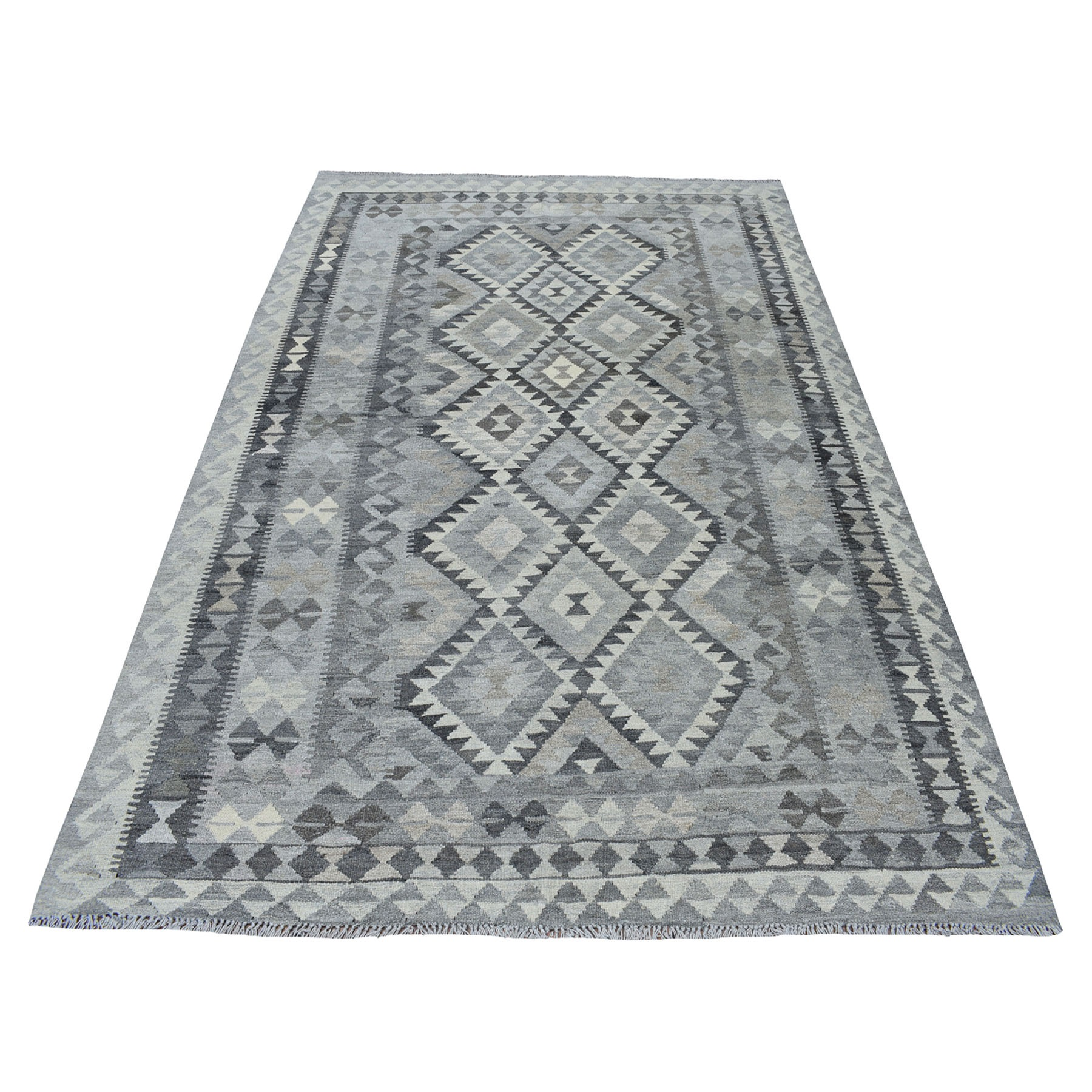 "5'9""x8'1"" Undyed Natural Wool Afghan Kilim Reversible Hand Woven Oriental Rug"