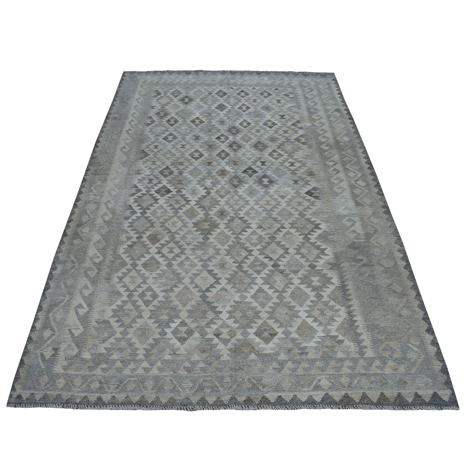"""5'9""""X8'1"""" Undyed Natural Wool Afghan Kilim Reversible Hand Woven Oriental Rug moaec0b7"""