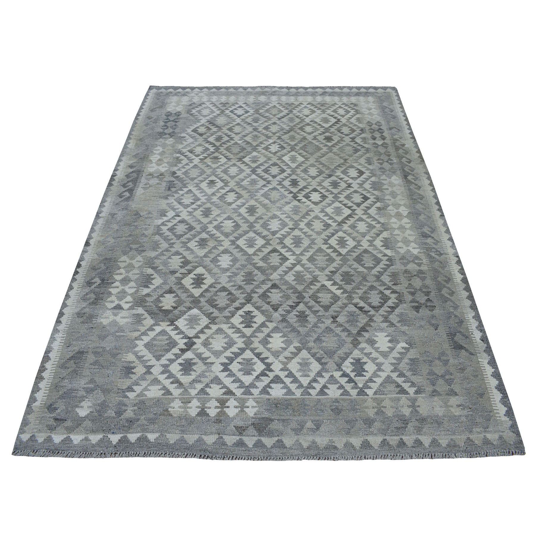 """5'8""""X8' Undyed Natural Wool Afghan Kilim Reversible Hand Woven Oriental Rug moaec0b8"""