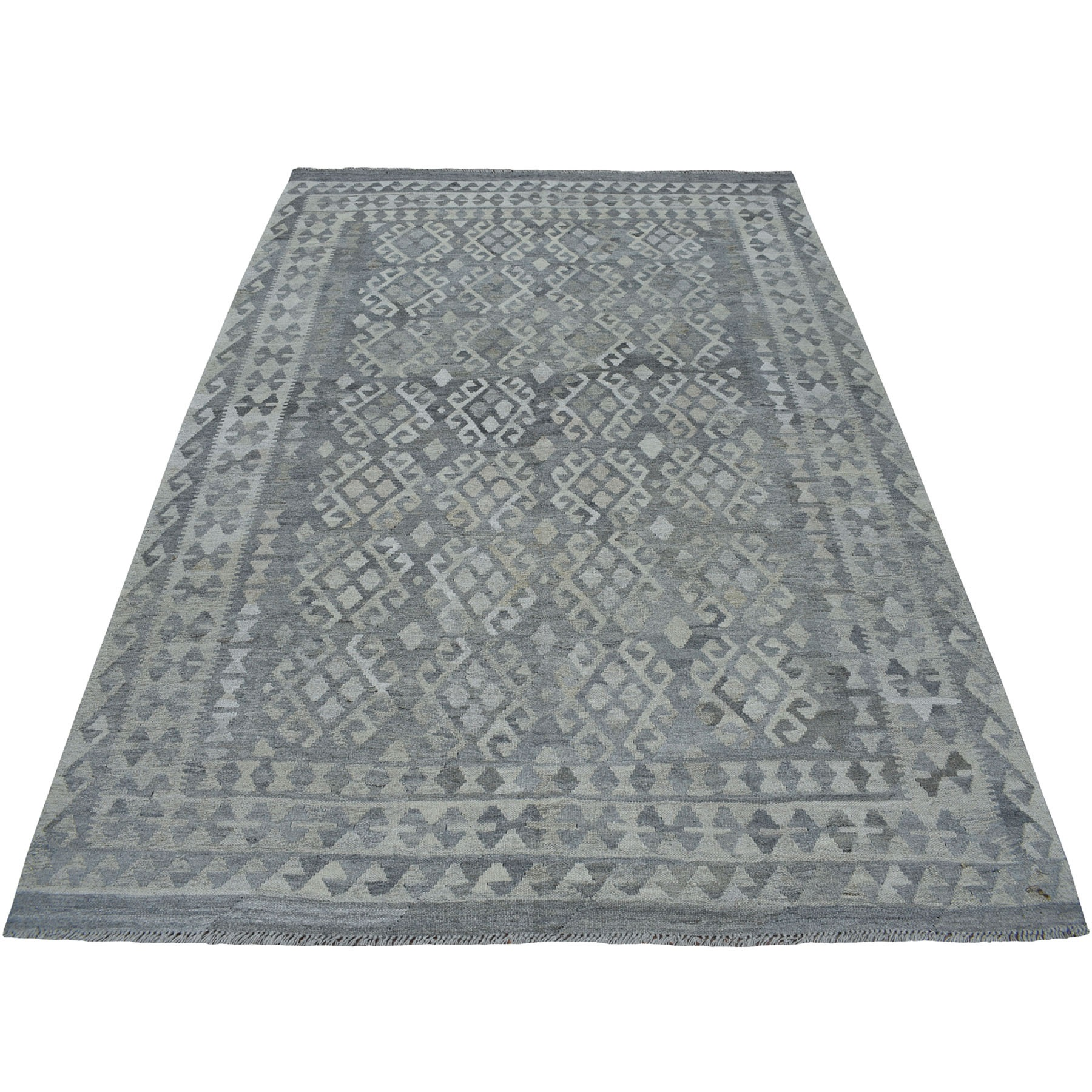 """6'X7'9"""" Undyed Natural Wool Afghan Kilim Reversible Hand Woven Oriental Rug moaec0ca"""