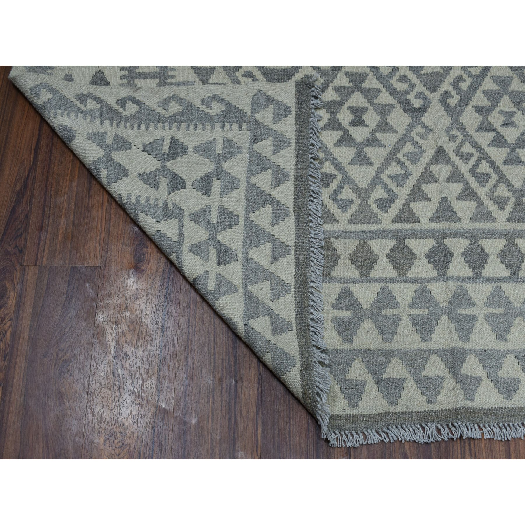 5-10 x8- Undyed Natural Wool Afghan Kilim Reversible Hand Woven Oriental Rug
