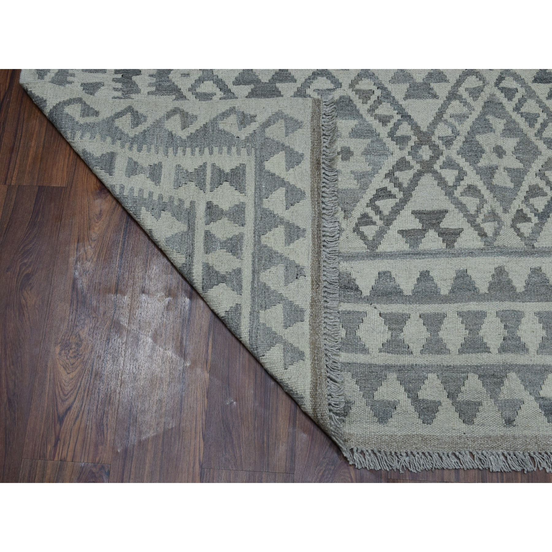 6-2 x7-9  Undyed Natural Wool Afghan Kilim Reversible Hand Woven Oriental Rug