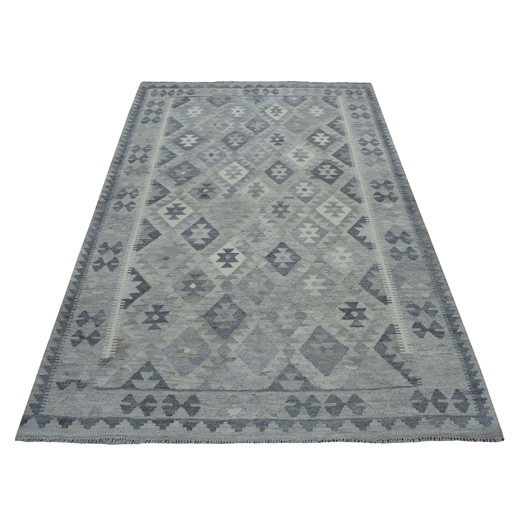 """5'7""""X8' Undyed Natural Wool Afghan Kilim Reversible Hand Woven Oriental Rug moaec0dd"""